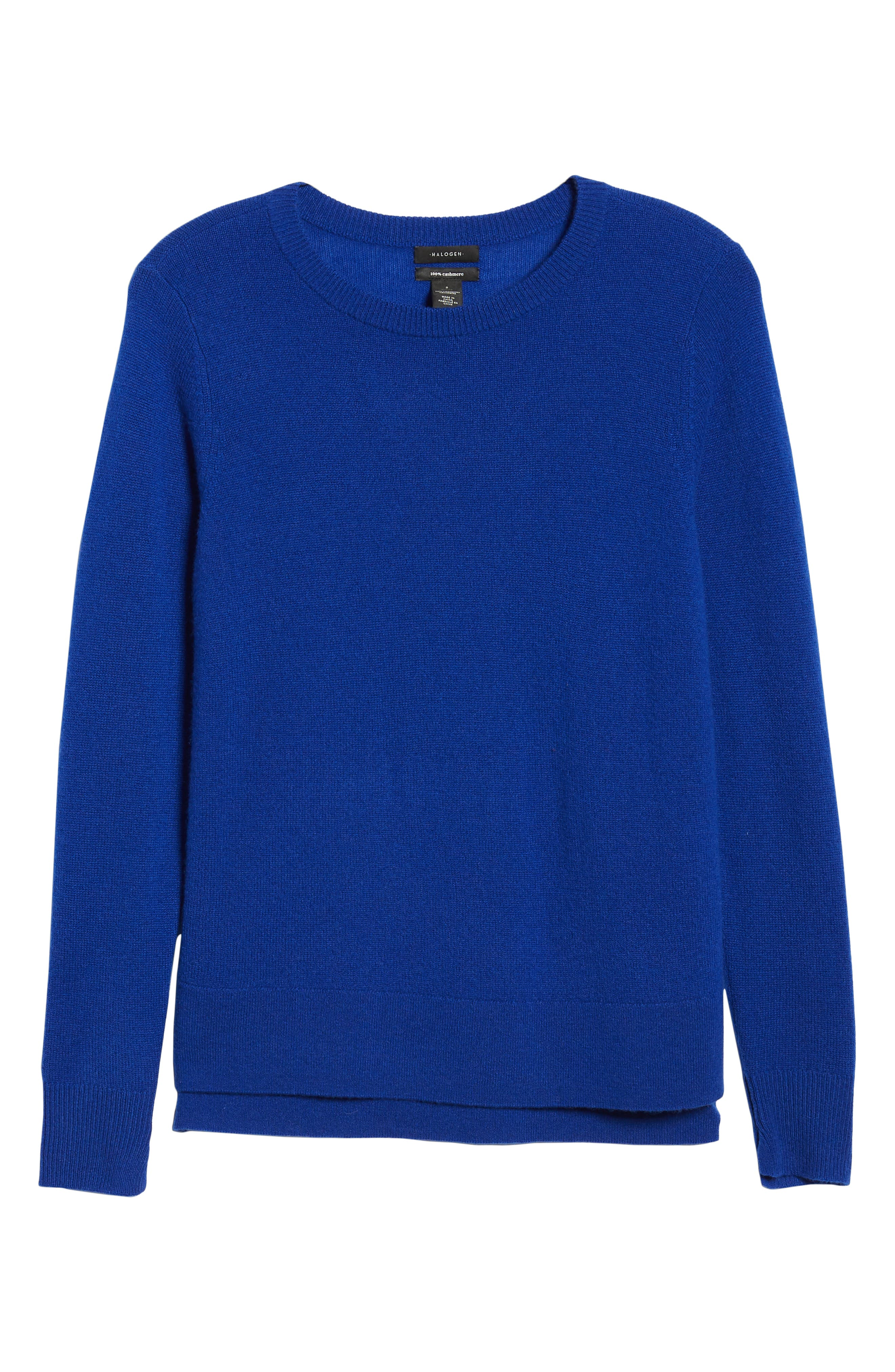 Crewneck Cashmere Sweater,                             Alternate thumbnail 6, color,                             BLUE MAZARINE