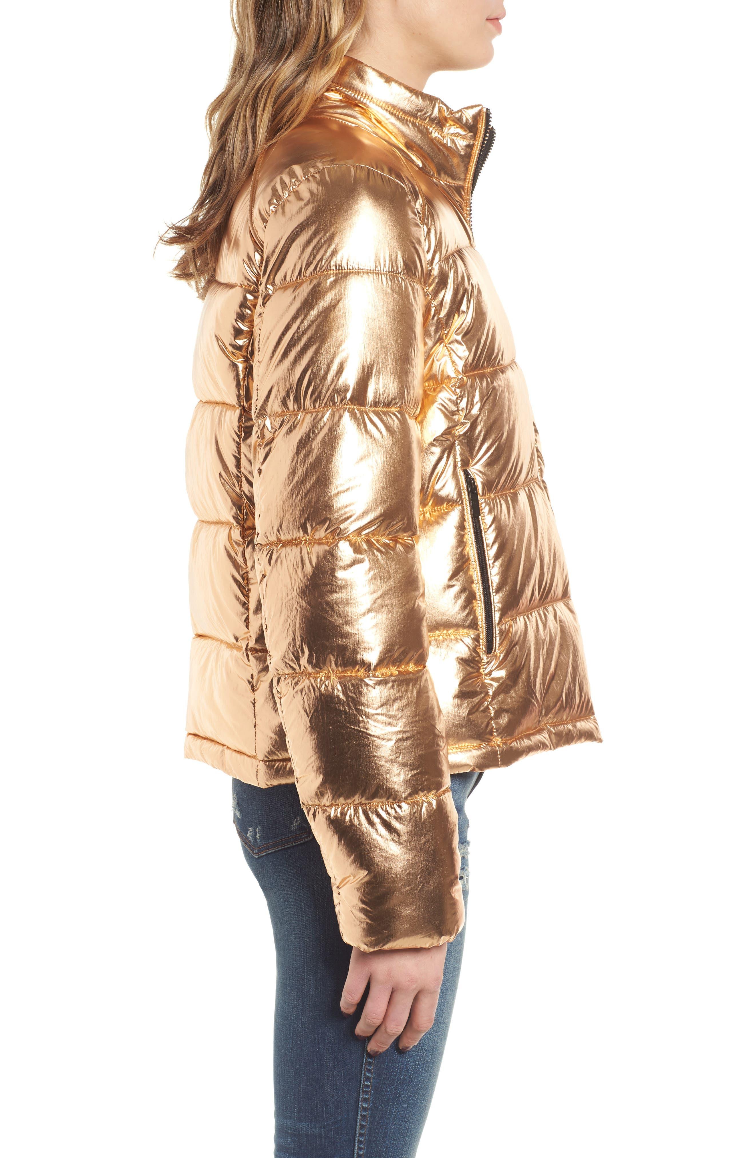 Metallic Puffer Jacket,                             Alternate thumbnail 3, color,                             COPPER