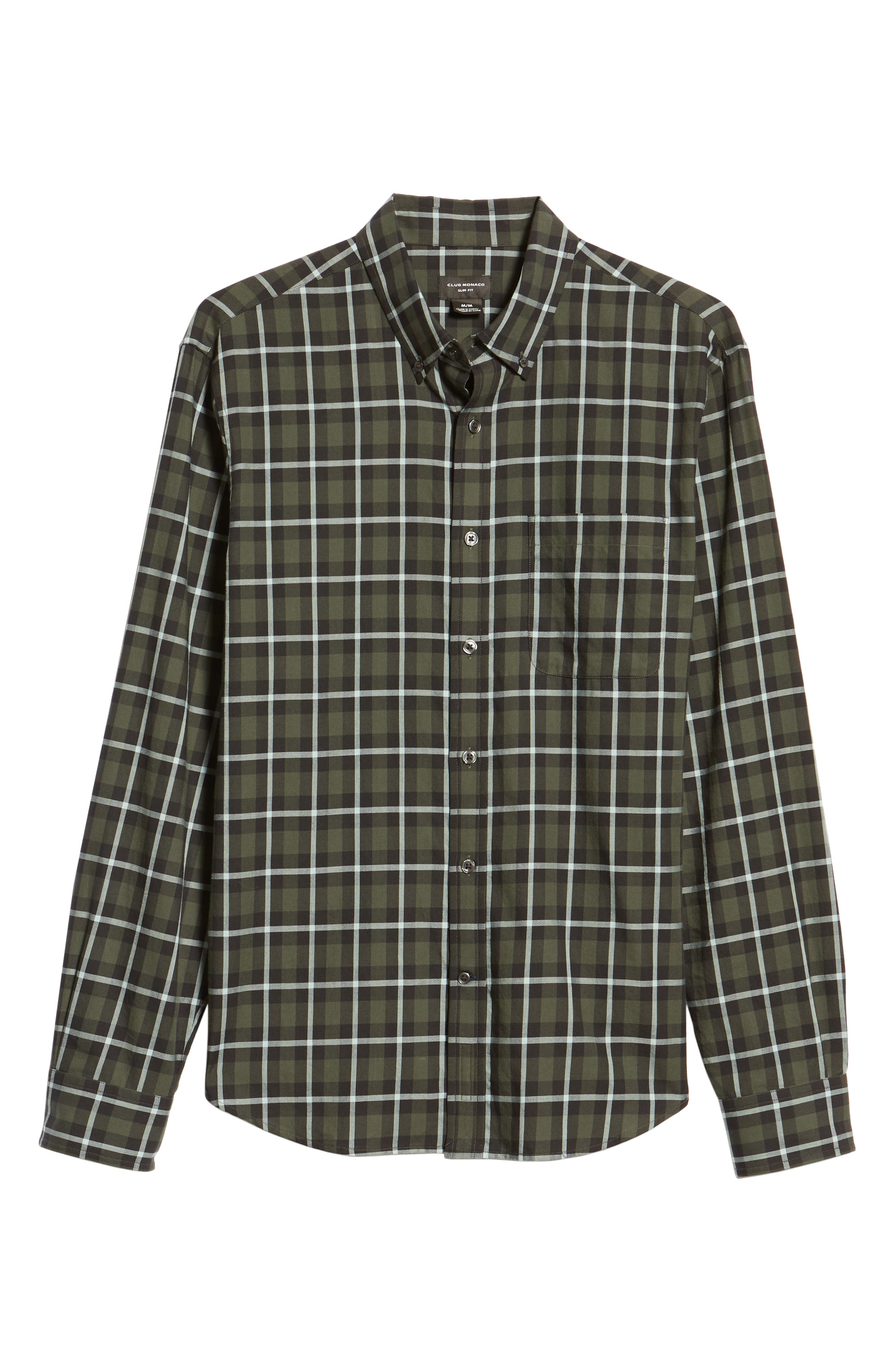 Trim Fit Plaid Sport Shirt,                             Alternate thumbnail 5, color,                             NAVY MULTI