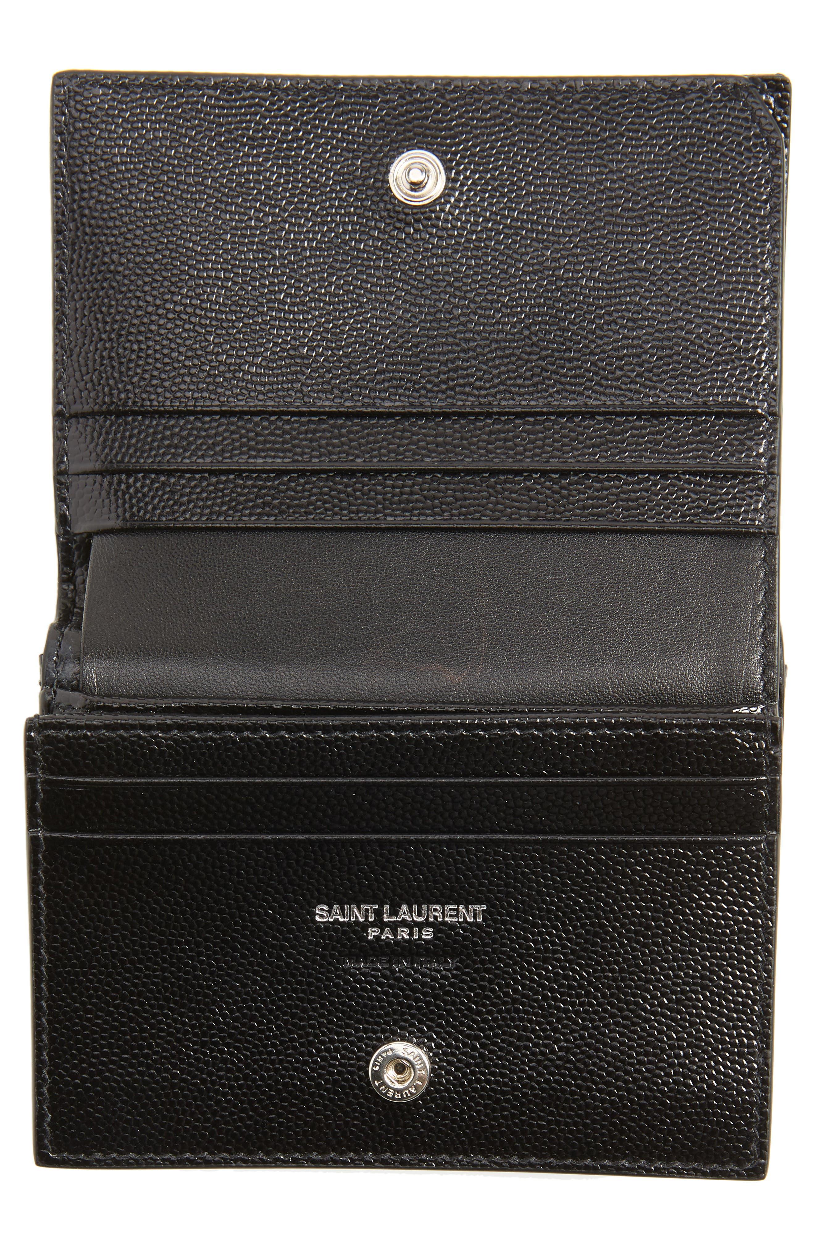 SAINT LAURENT,                             Monogram Quilted Leather Card Case,                             Alternate thumbnail 2, color,                             NOIR/ NOIR