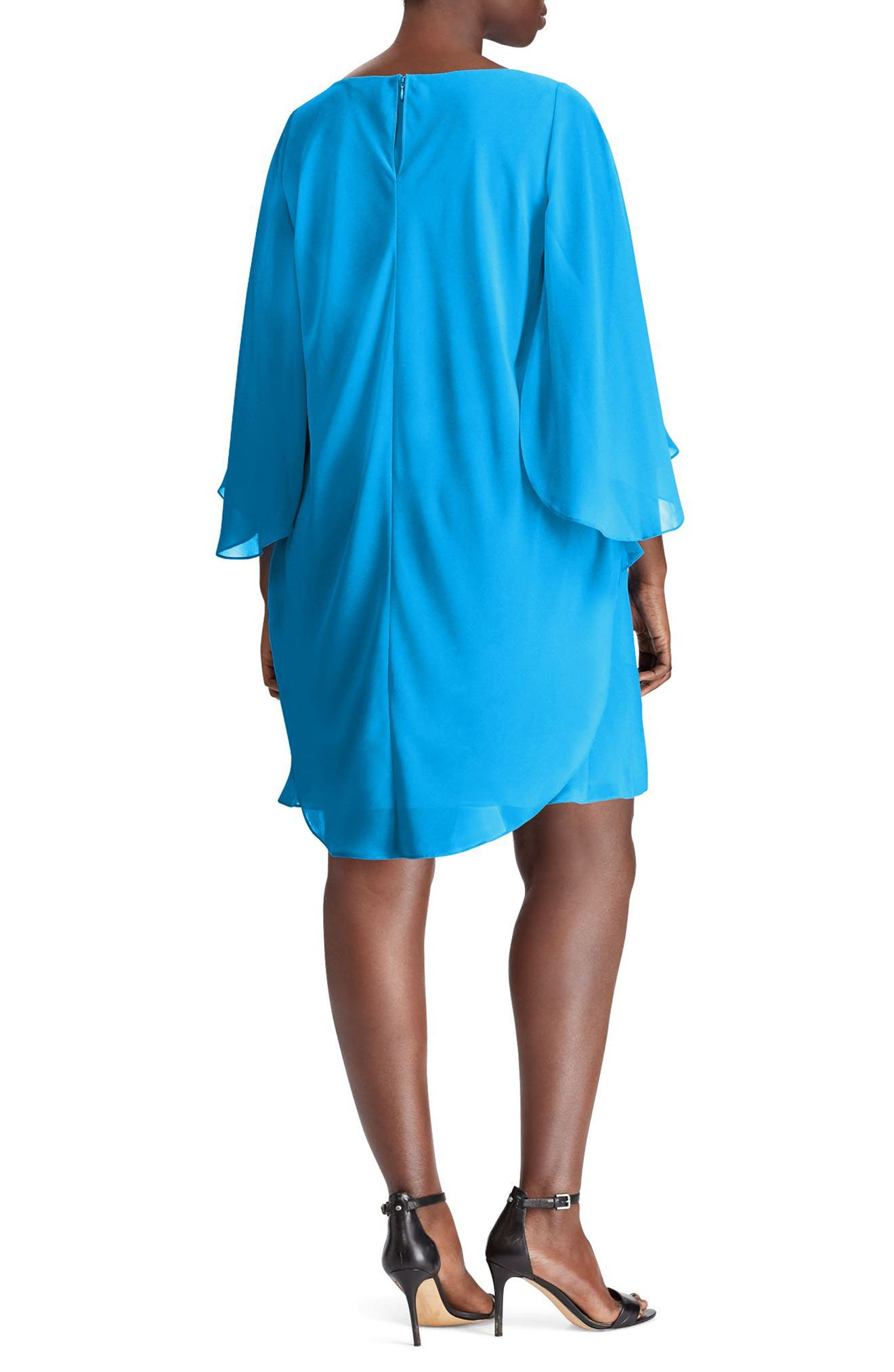 Capelet Shift Dress,                             Alternate thumbnail 2, color,