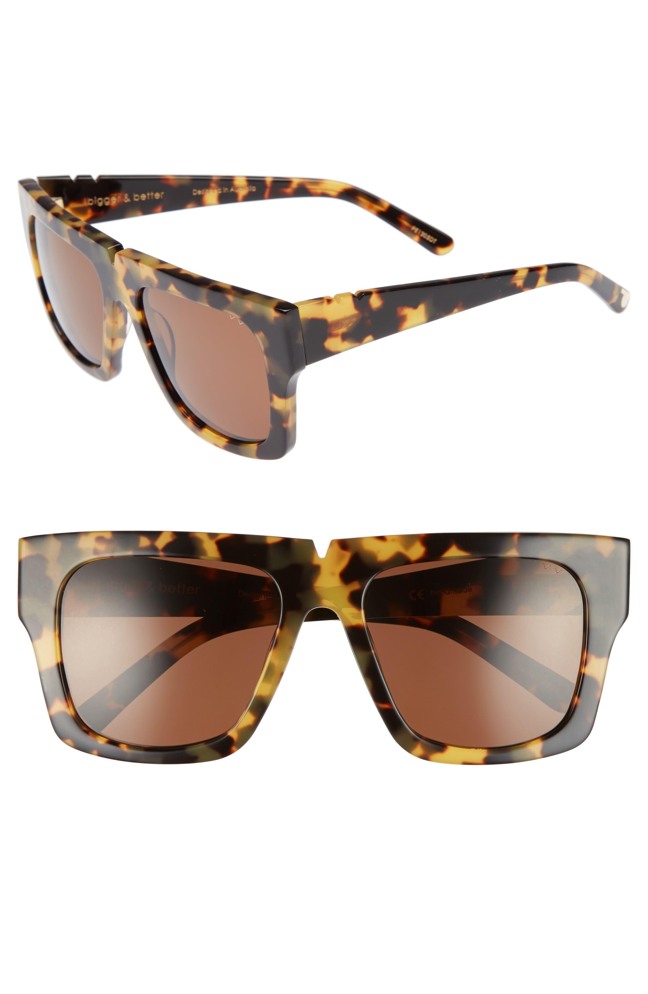 Bigger & Better 54mm Sunglasses,                         Main,                         color, DARK TORTOISE/ BROWN