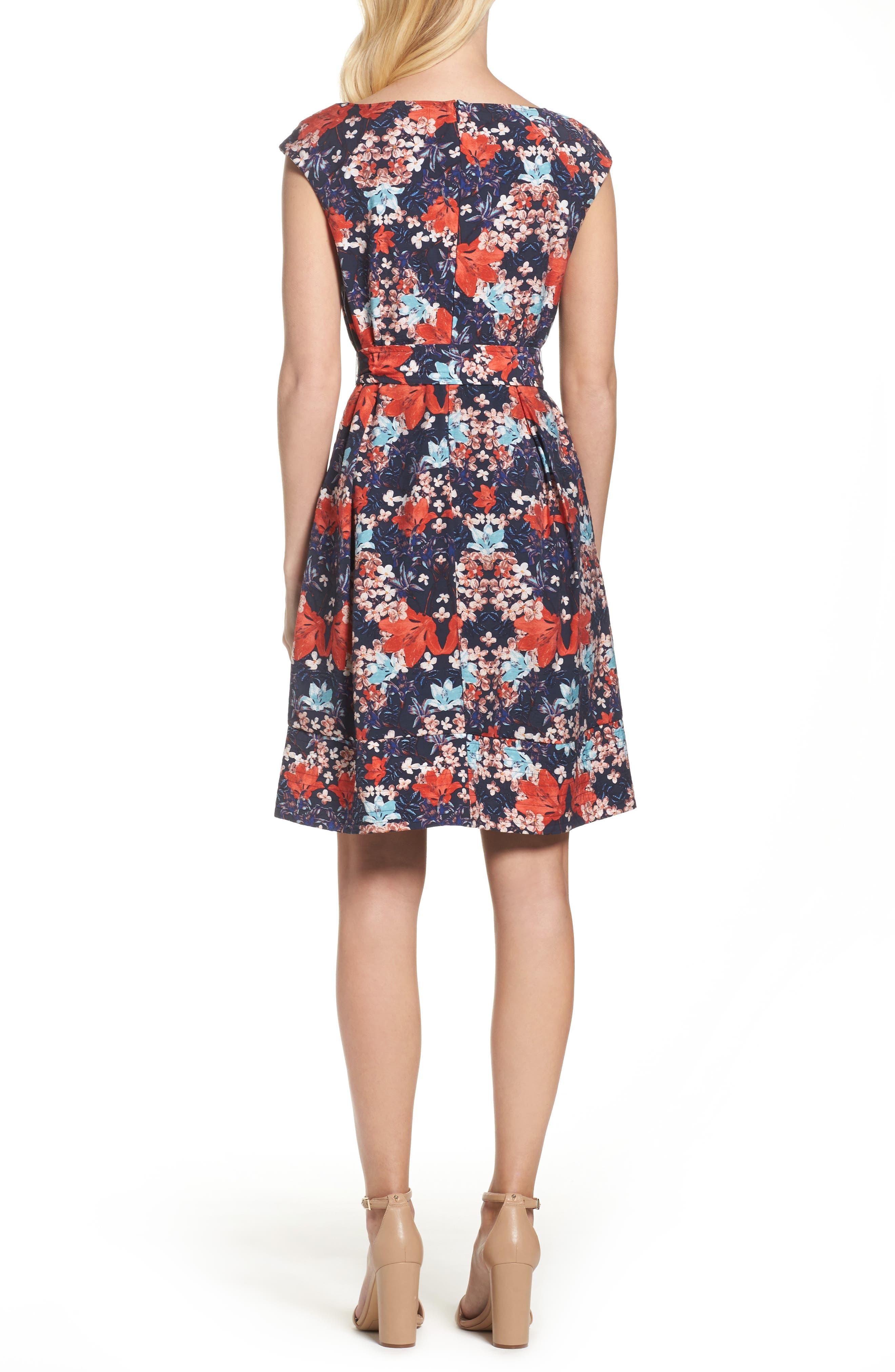 Linenette Fit & Flare Dress,                             Alternate thumbnail 2, color,