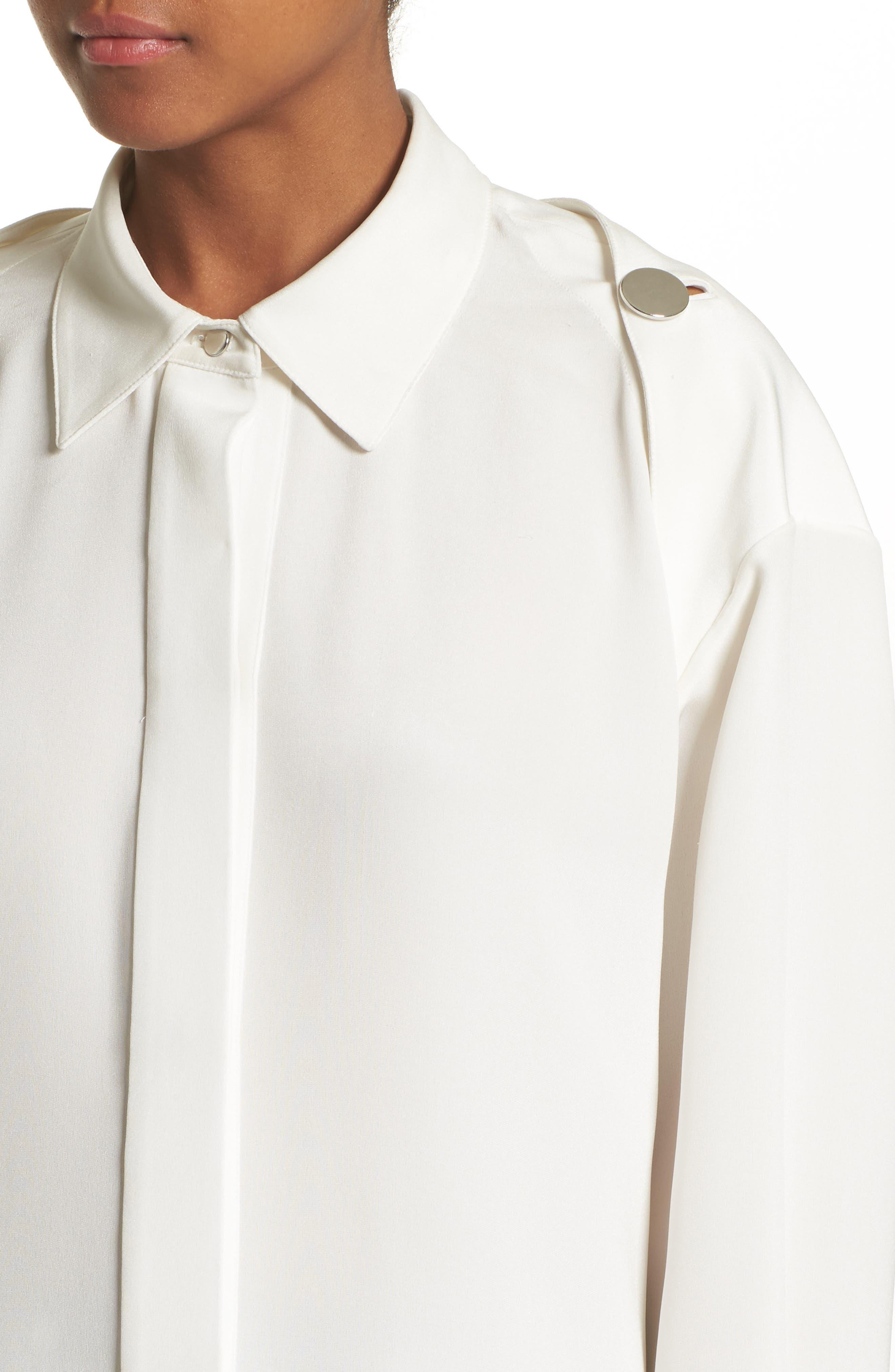 Open Back Silk Blouse,                             Alternate thumbnail 5, color,                             900