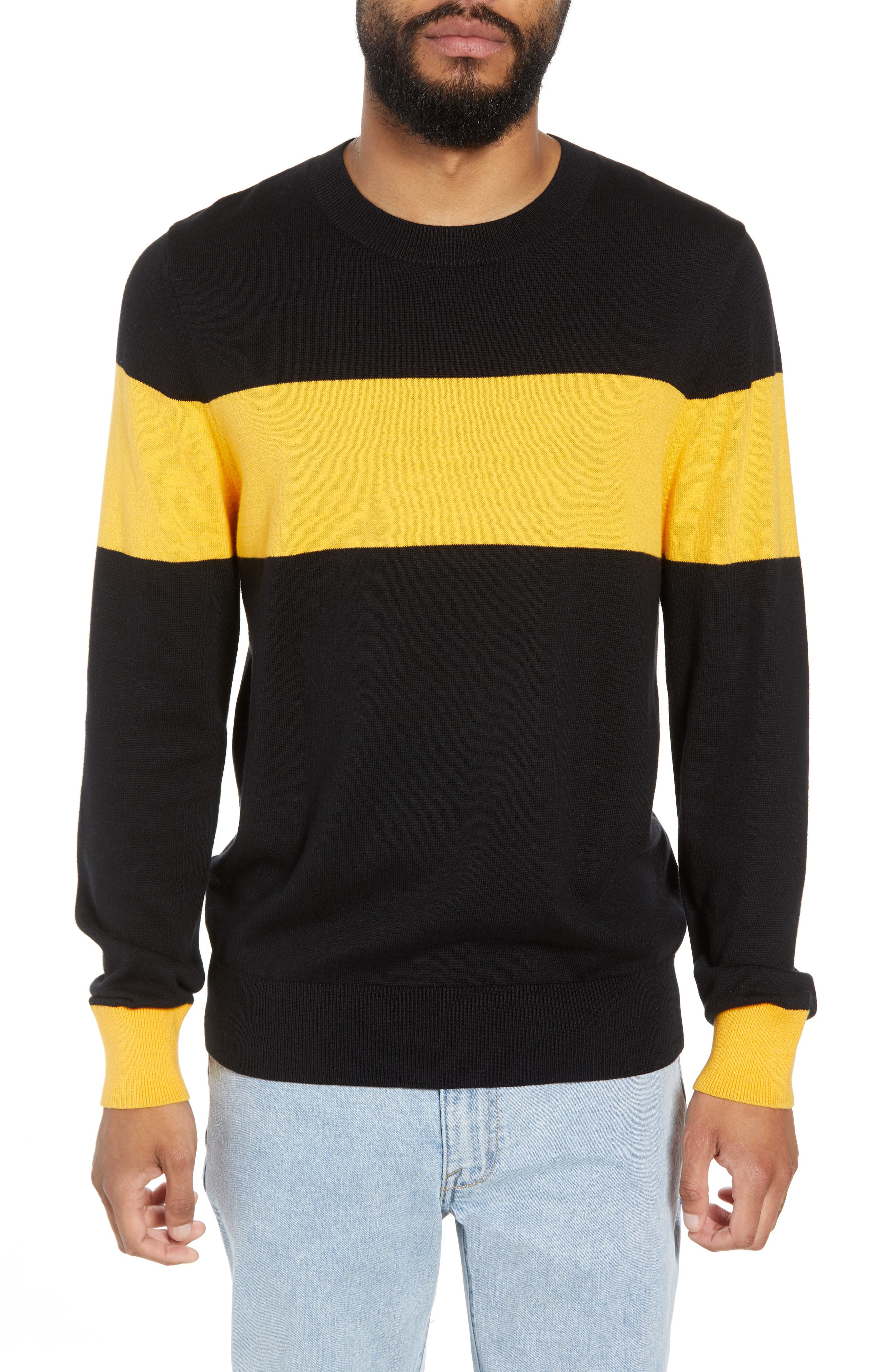 Rugby Stripe Sweater,                         Main,                         color, BLACK YELLOW RUGBY STRIPE