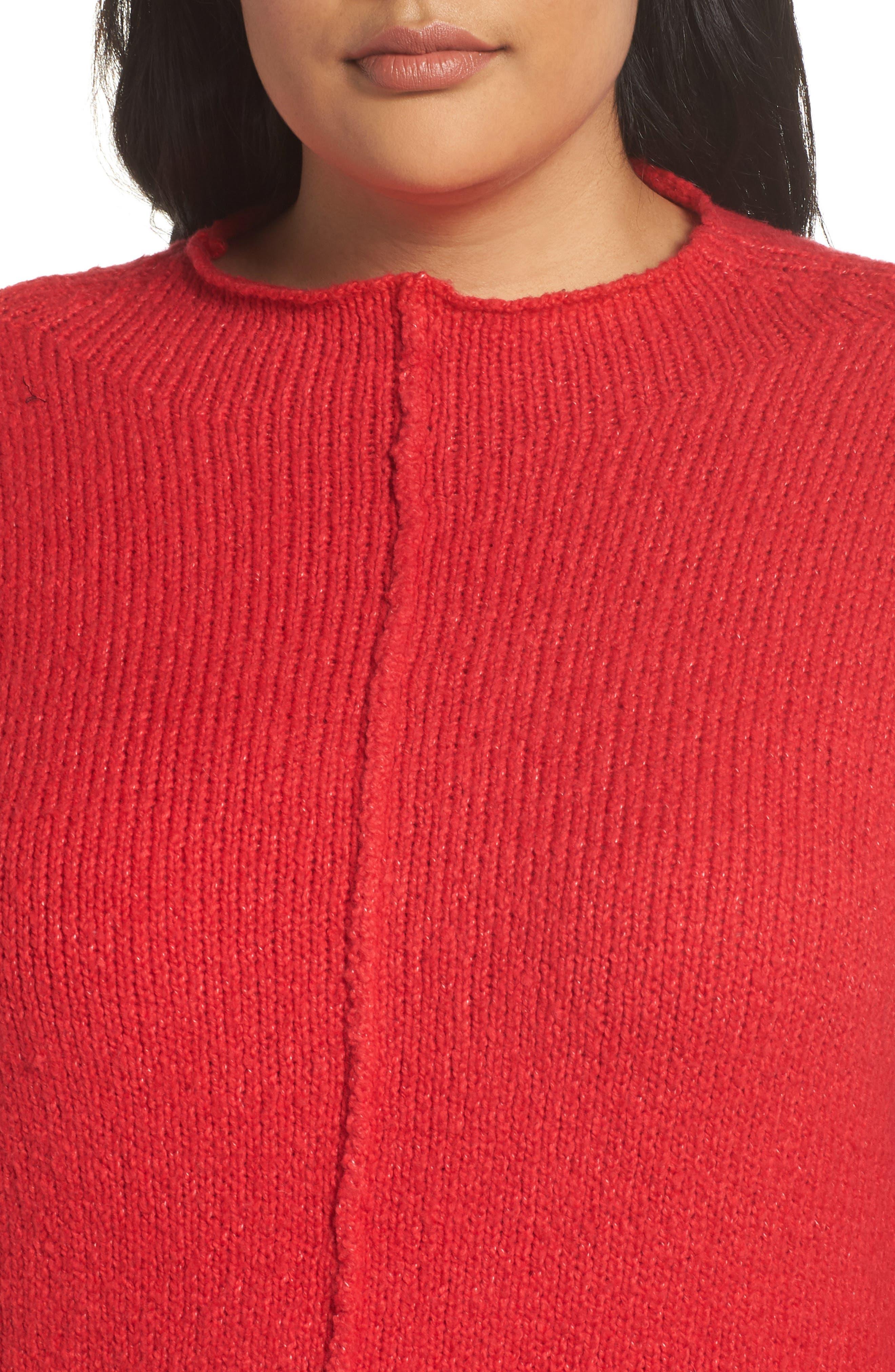 Side Slit Sweater,                             Alternate thumbnail 4, color,                             RED LIPSTICK