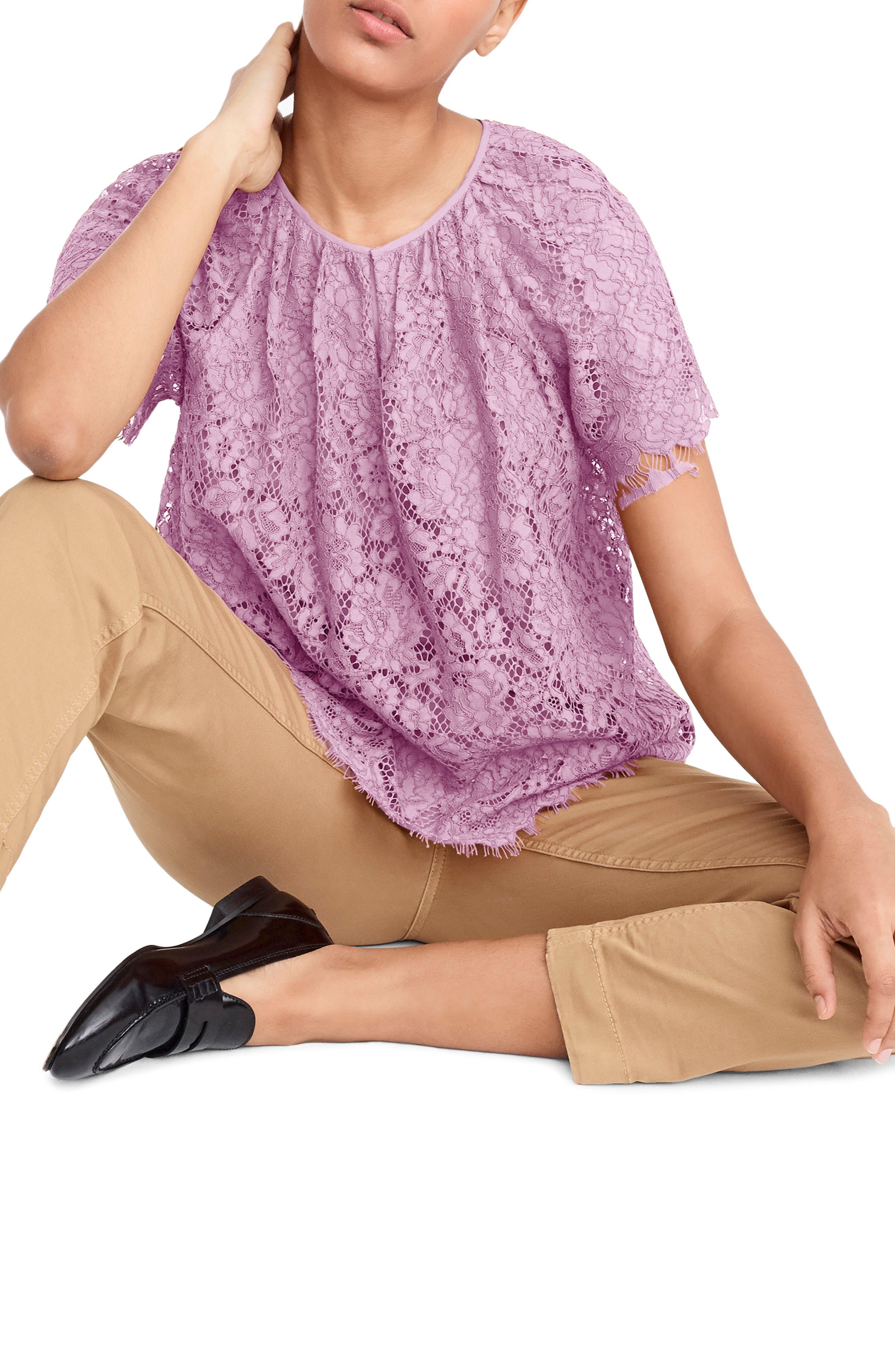 J.CREW Short Sleeve Lace Top, Main, color, VIVID LILAC