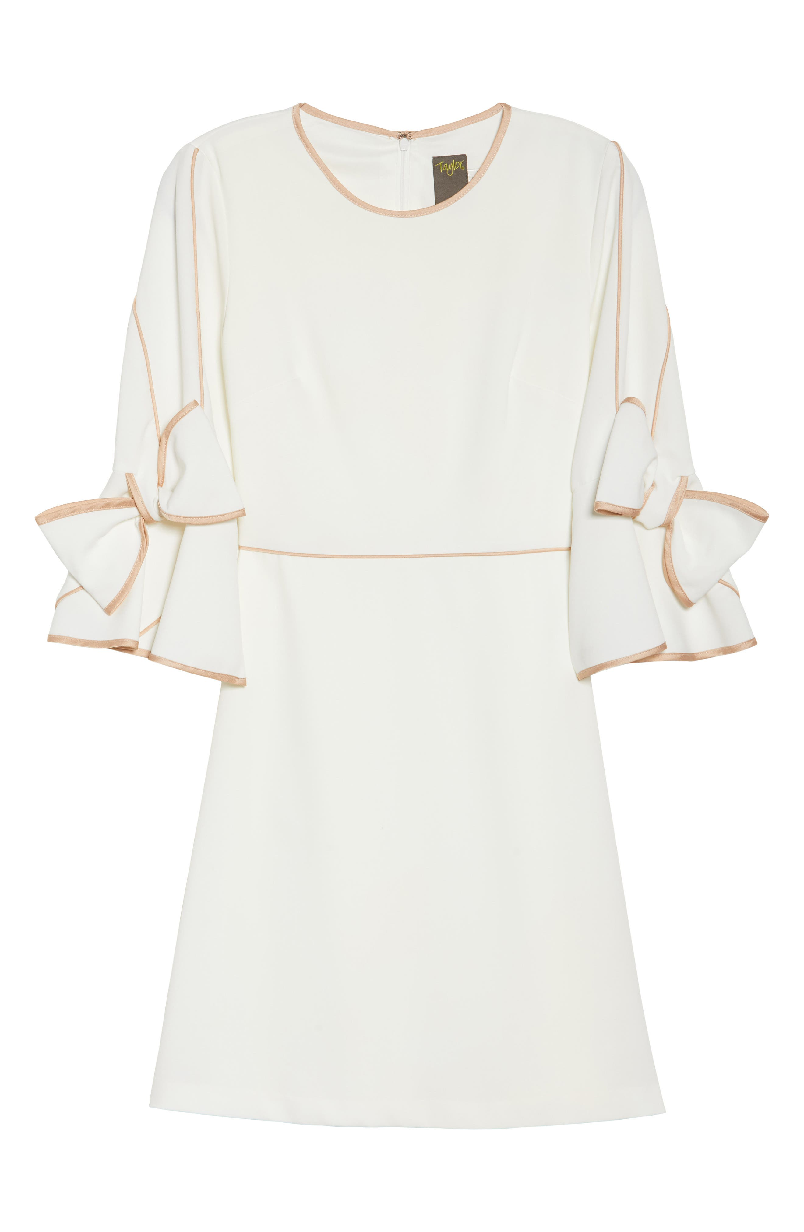 Bow Sleeve Crepe A-Line Dress,                             Alternate thumbnail 6, color,                             900