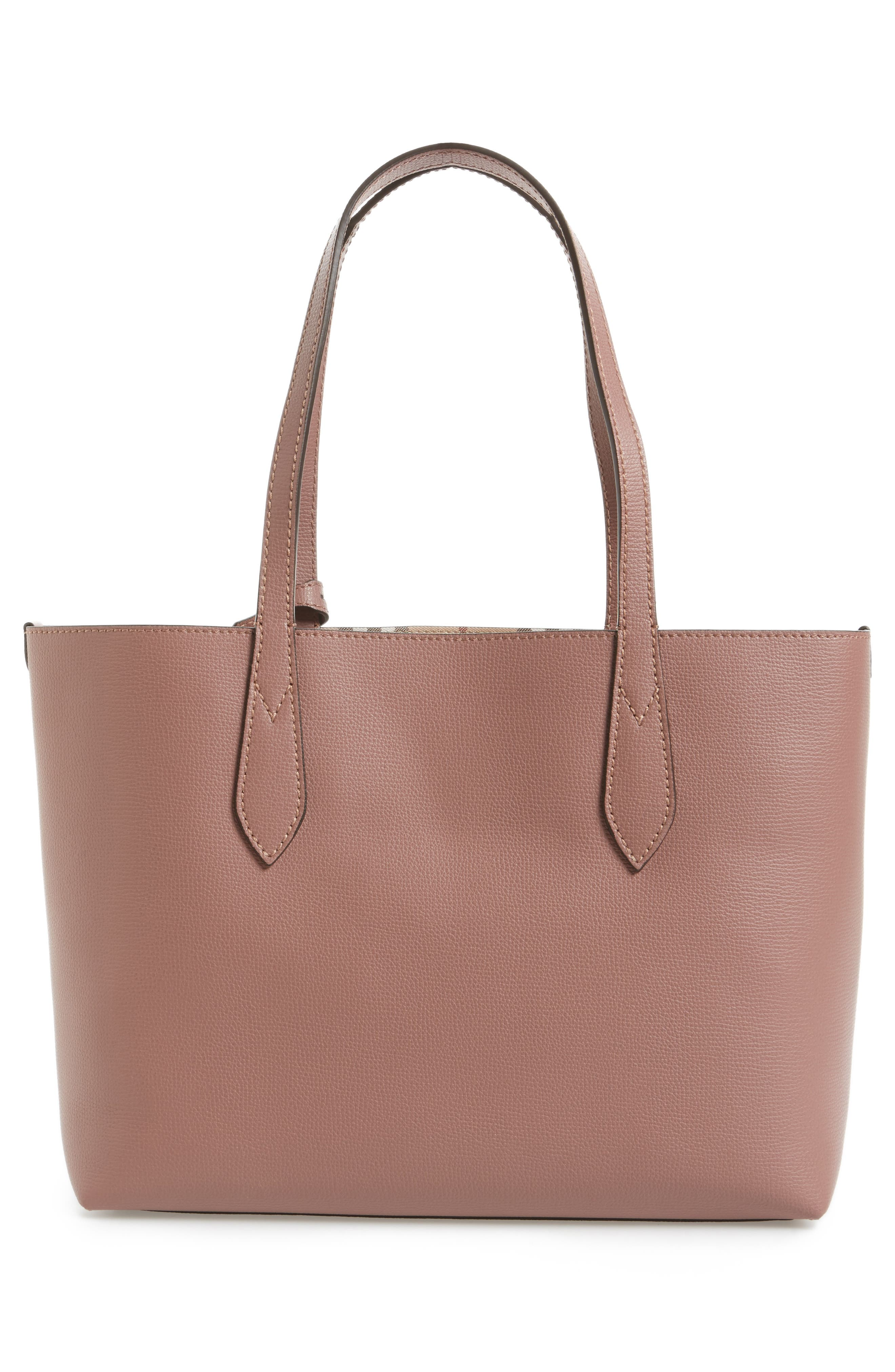 Small Reversible Haymarket Check & Leather Tote,                             Alternate thumbnail 3, color,                             512