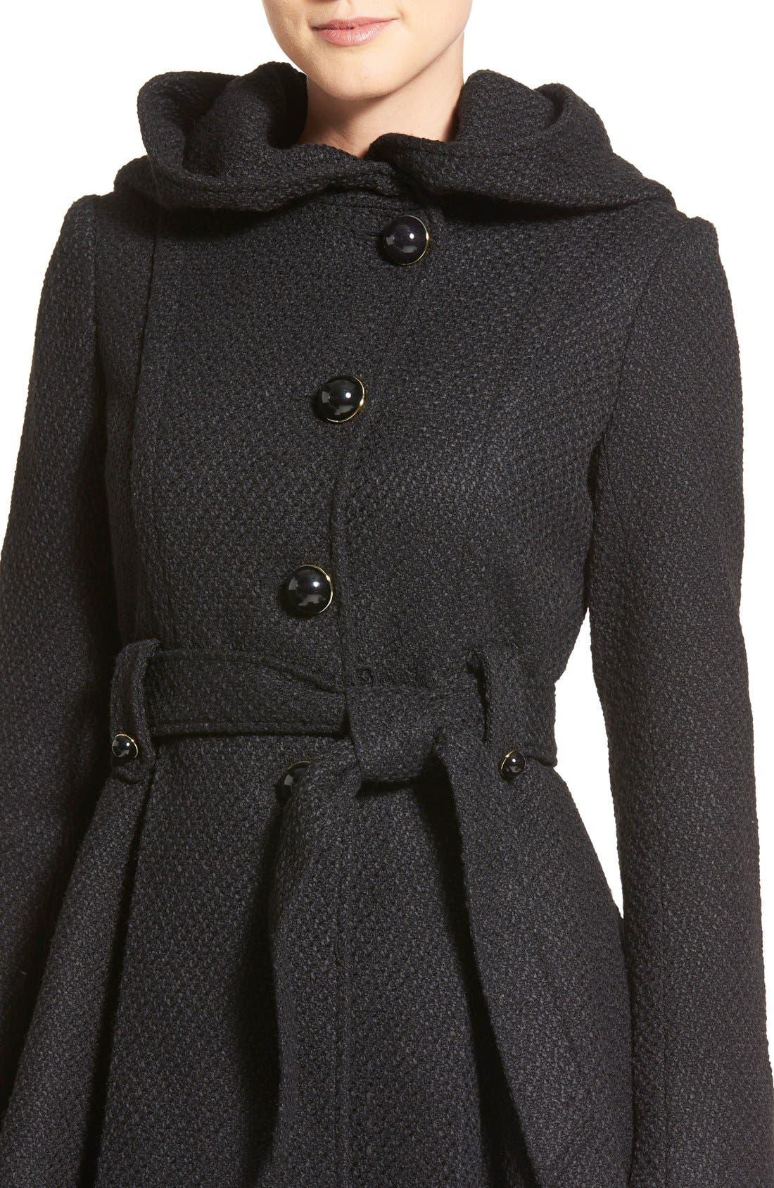 Belted Hooded Skirted Coat,                             Alternate thumbnail 17, color,