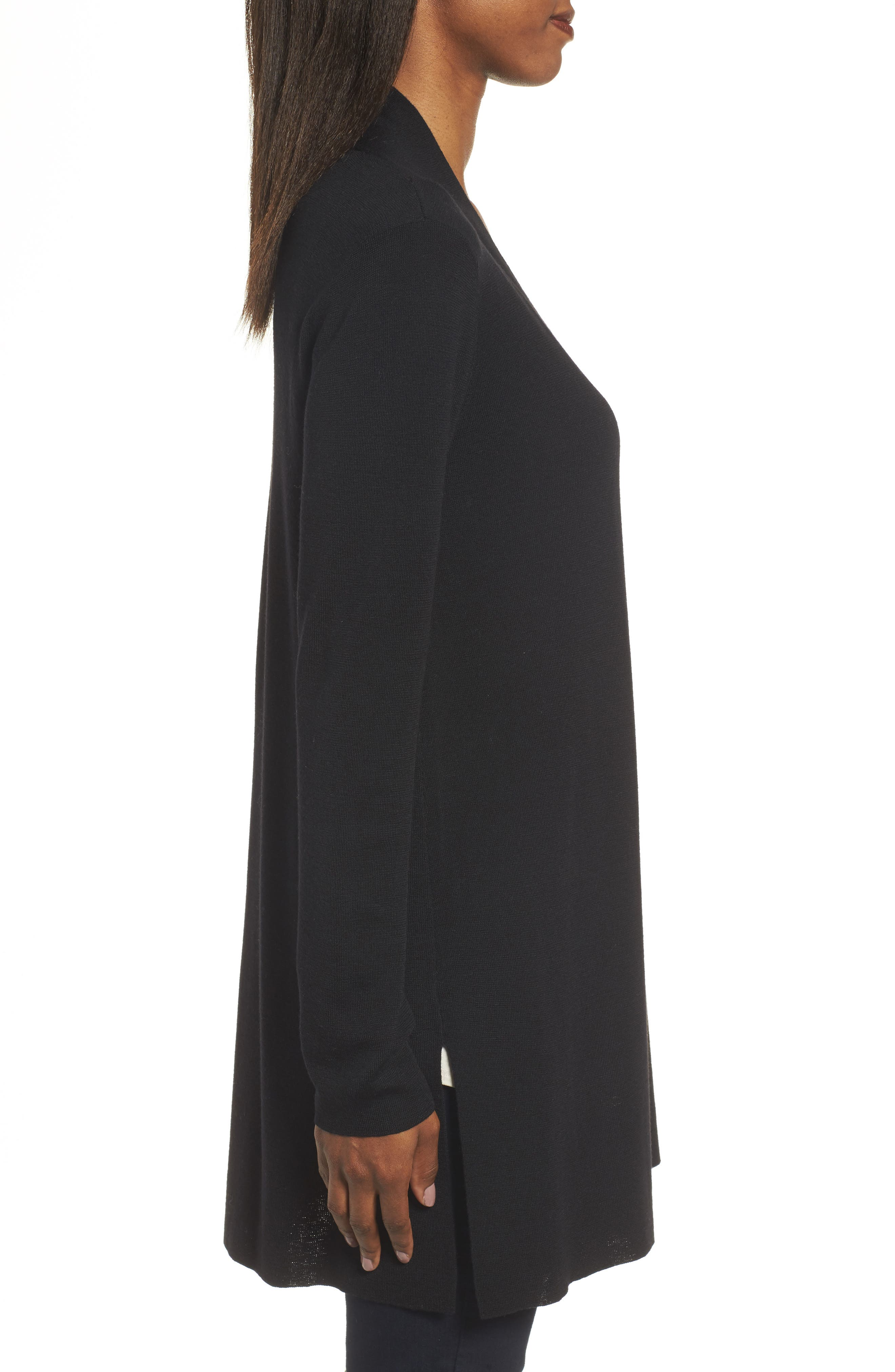 Merino Straight Long Cardigan,                             Alternate thumbnail 4, color,                             BLACK