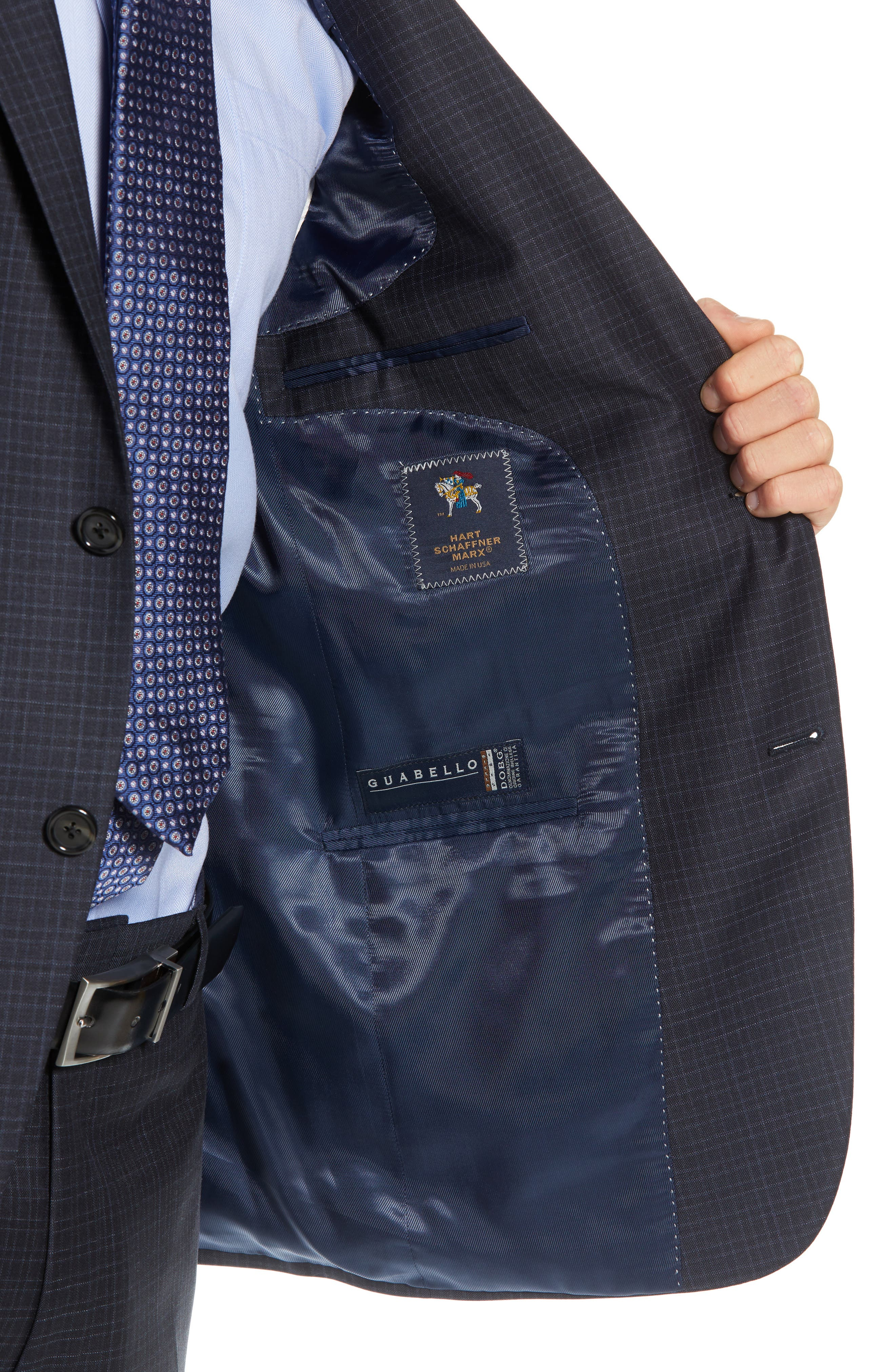 New York Classic Fit Check Wool Suit,                             Alternate thumbnail 4, color,                             NAVY