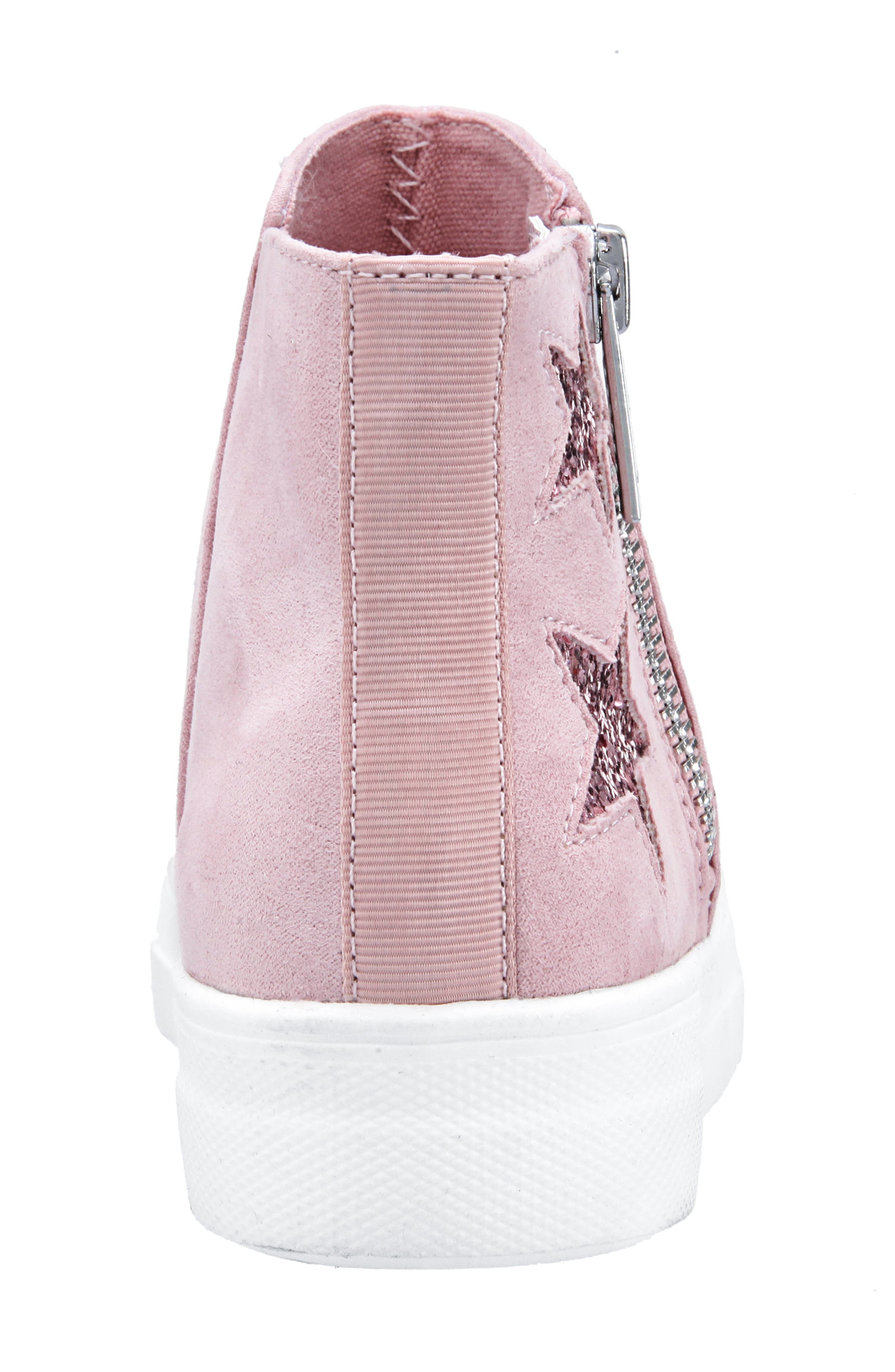 Jacqui Glitter High Top Sneaker,                             Alternate thumbnail 7, color,                             BLUSH MICRO SUEDE