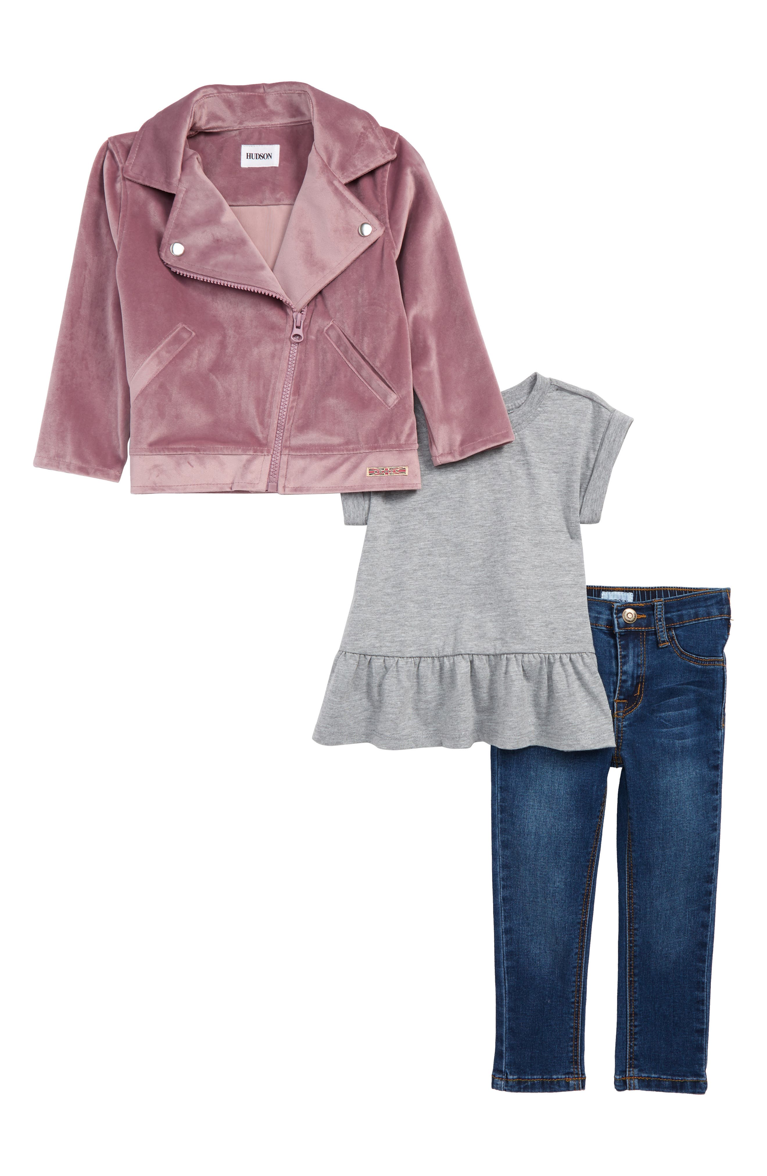 Toddler Girls Hudson Kids Velveteen Biker Jacket Tee  Jeans Set