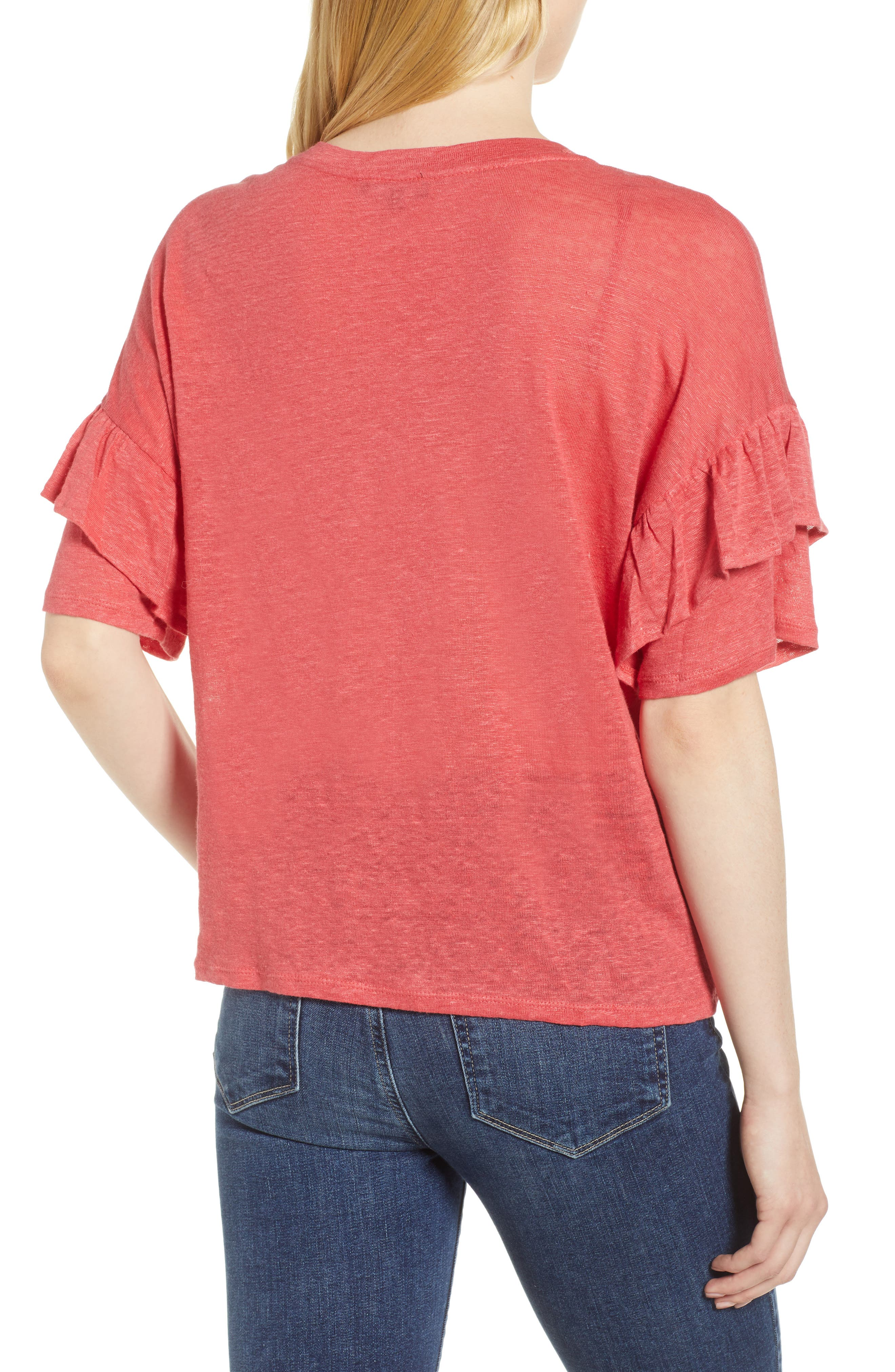 Ruffle Linen Tee,                             Alternate thumbnail 2, color,                             DARK CORAL REEF