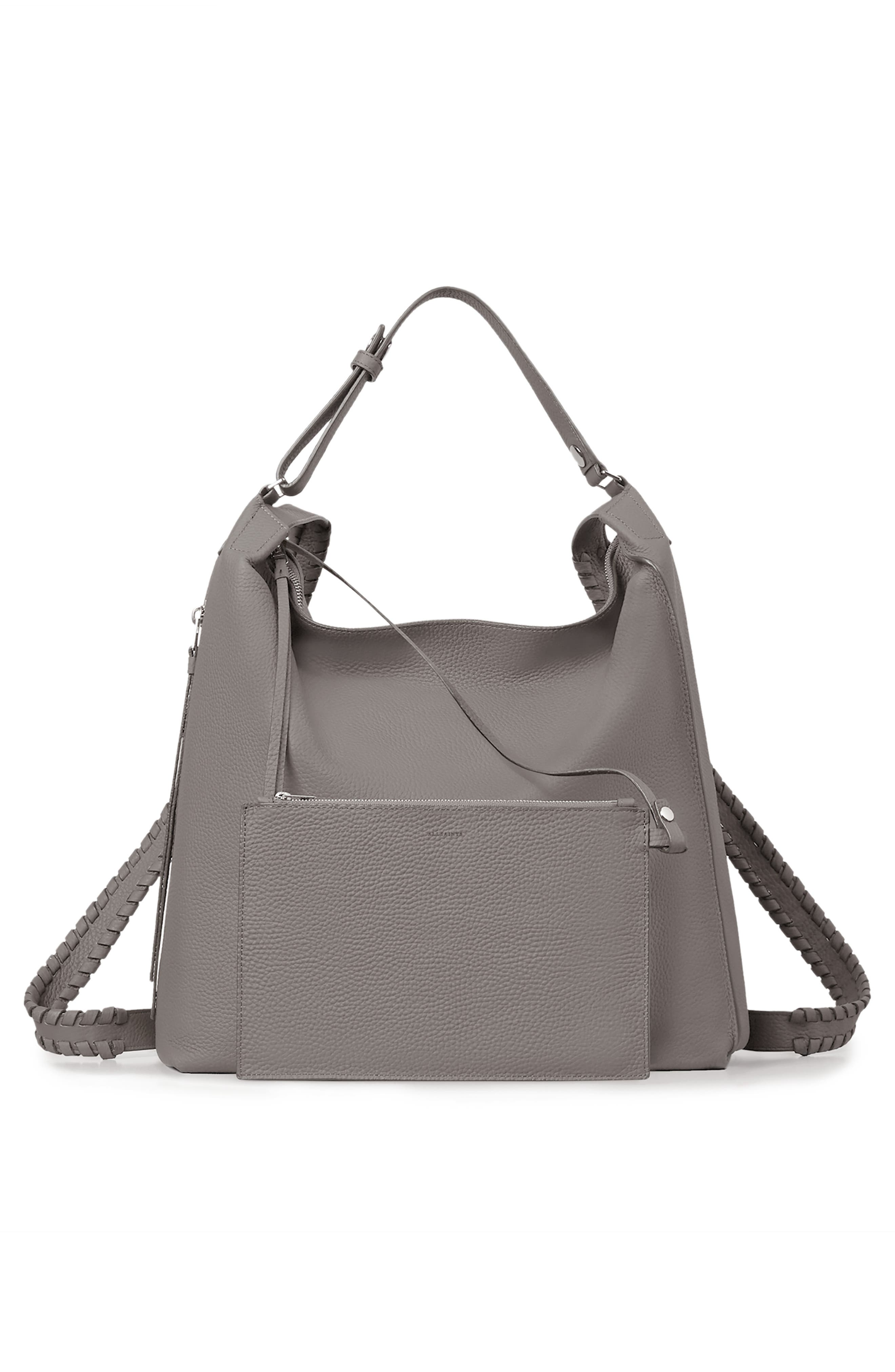 Kita Convertible Leather Backpack,                             Alternate thumbnail 5, color,                             STORM GREY