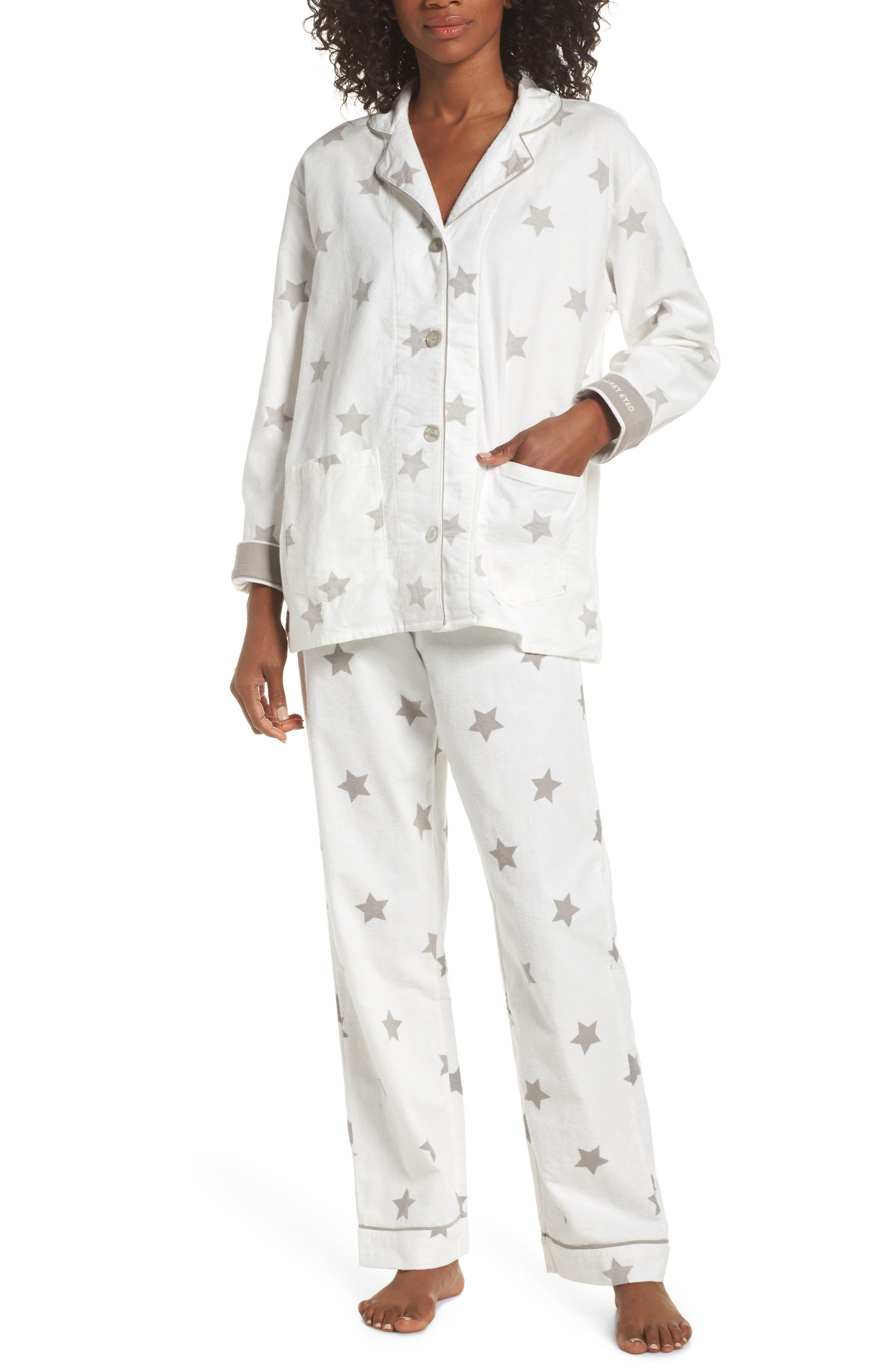 Pj Salvage Print Flannel Pajamas, Ivory