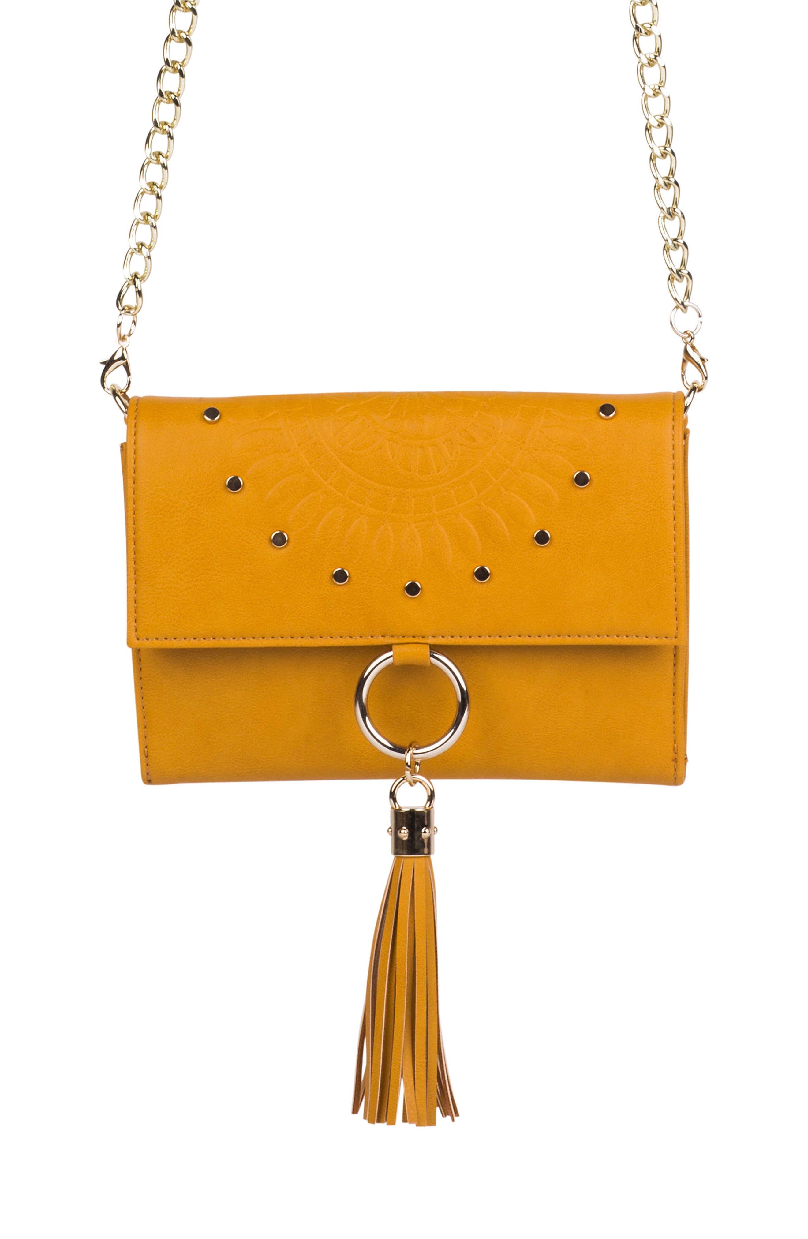 First Love Vegan Leather Crossbody Bag - Yellow in Mustard