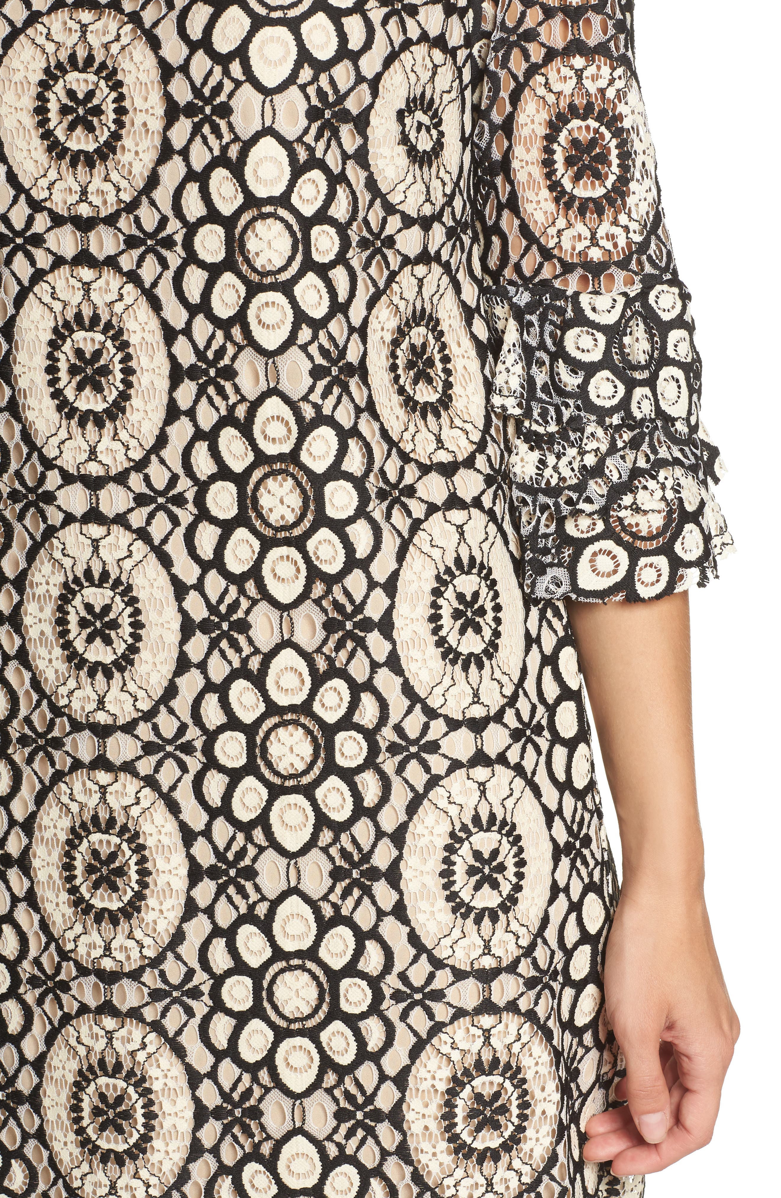Tiered Sleeve Lace Shift Dress,                             Alternate thumbnail 4, color,                             901