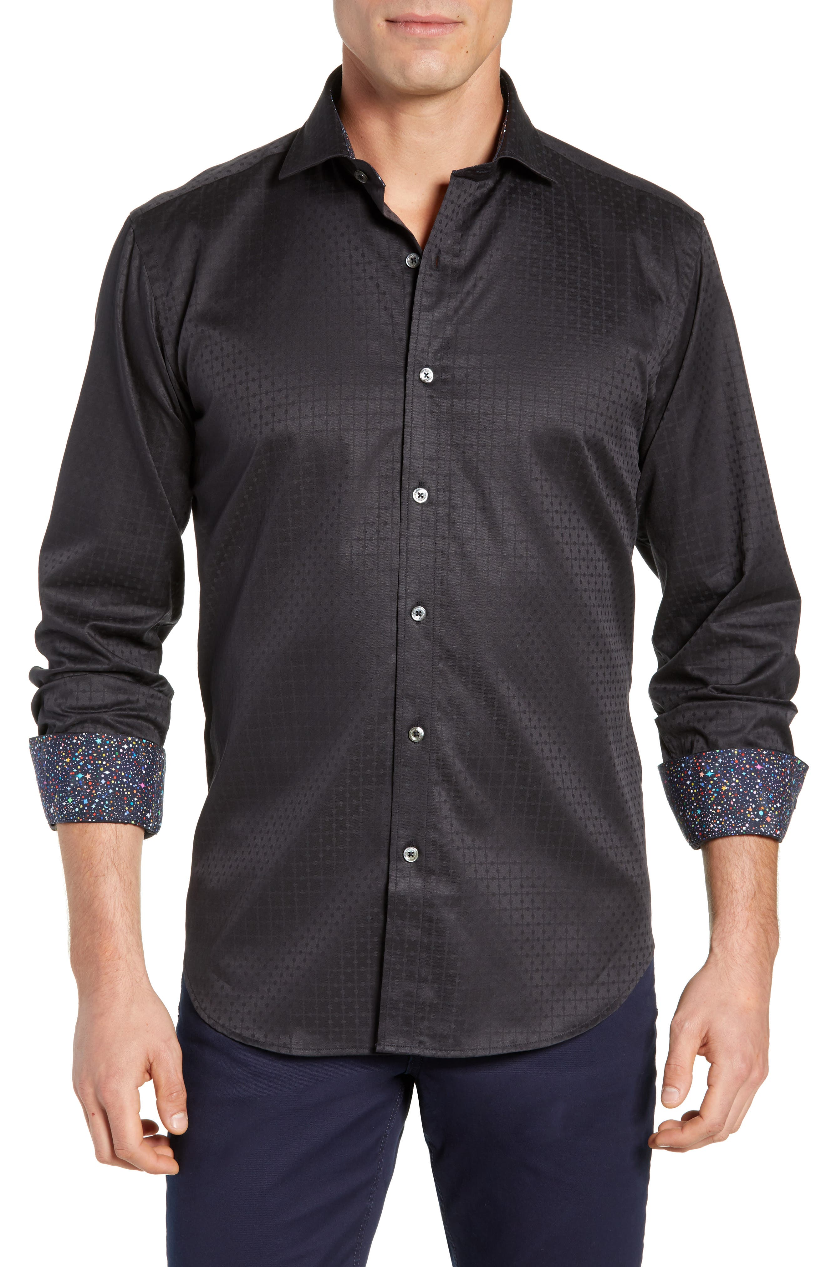 Shaped Fit Sport Shirt,                         Main,                         color, BLACK