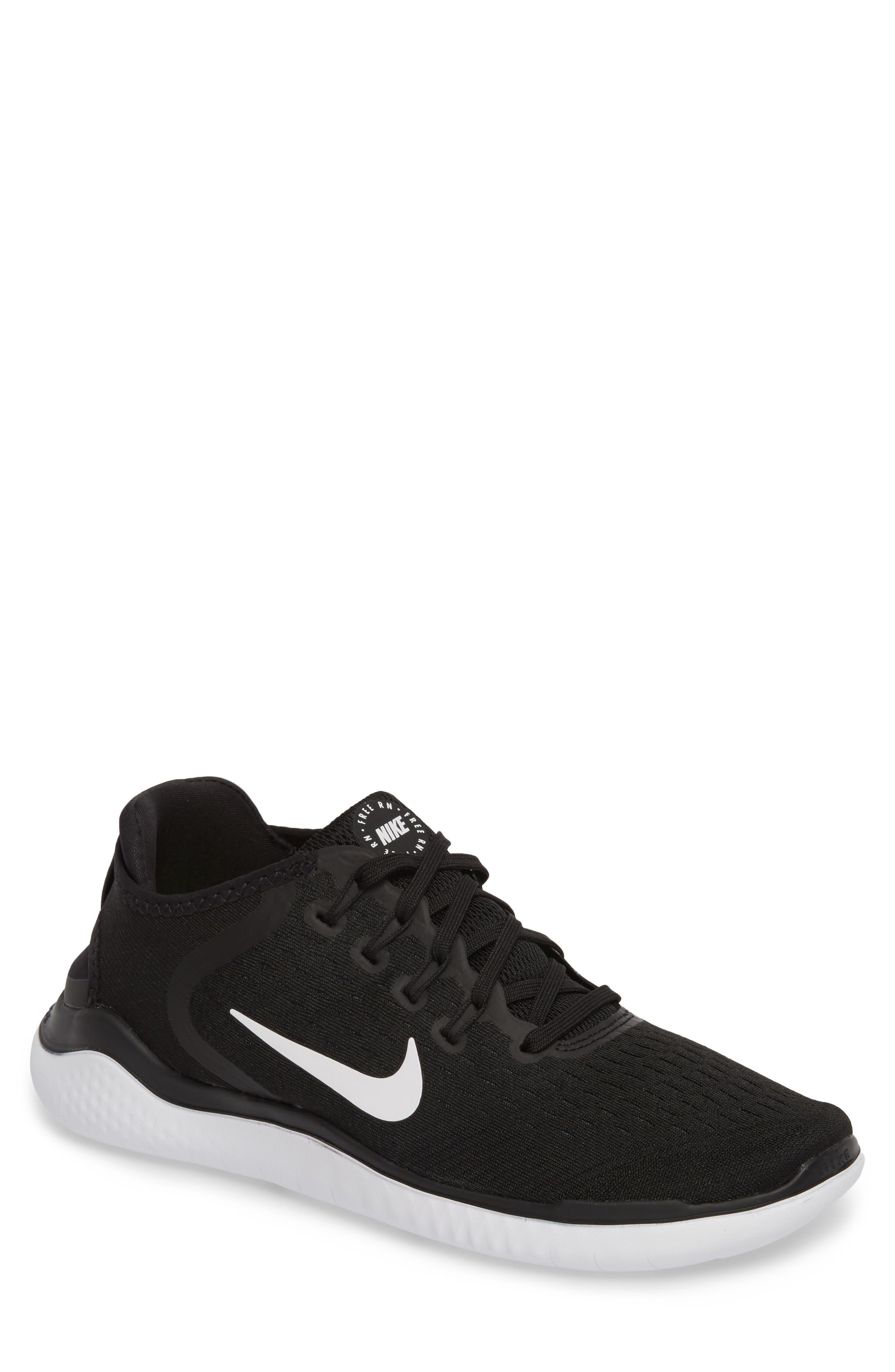 Free RN 2018 Running Shoe,                         Main,                         color, BLACK/ WHITE