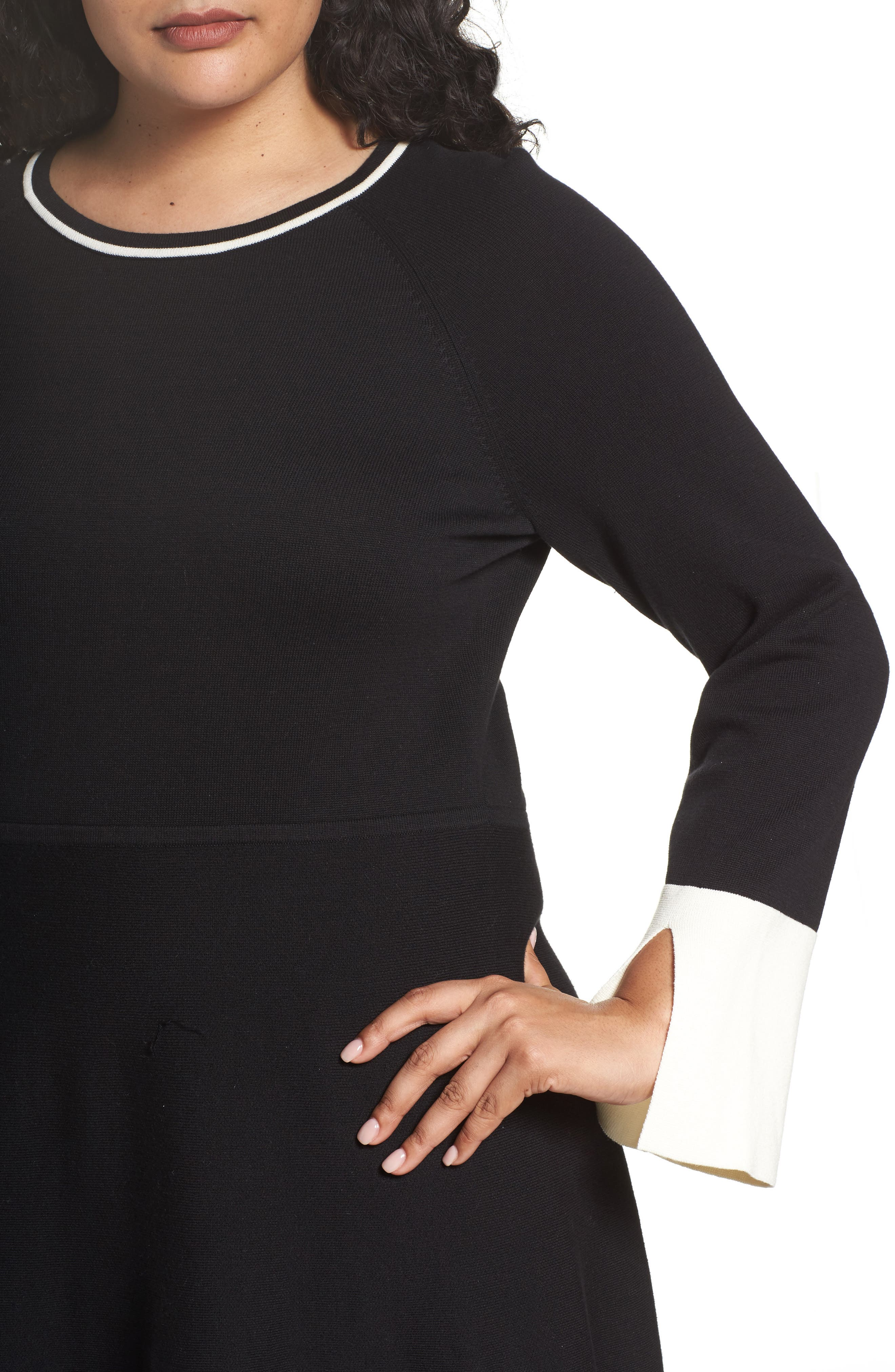 Fit & Flare Sweater Dress,                             Alternate thumbnail 4, color,                             019