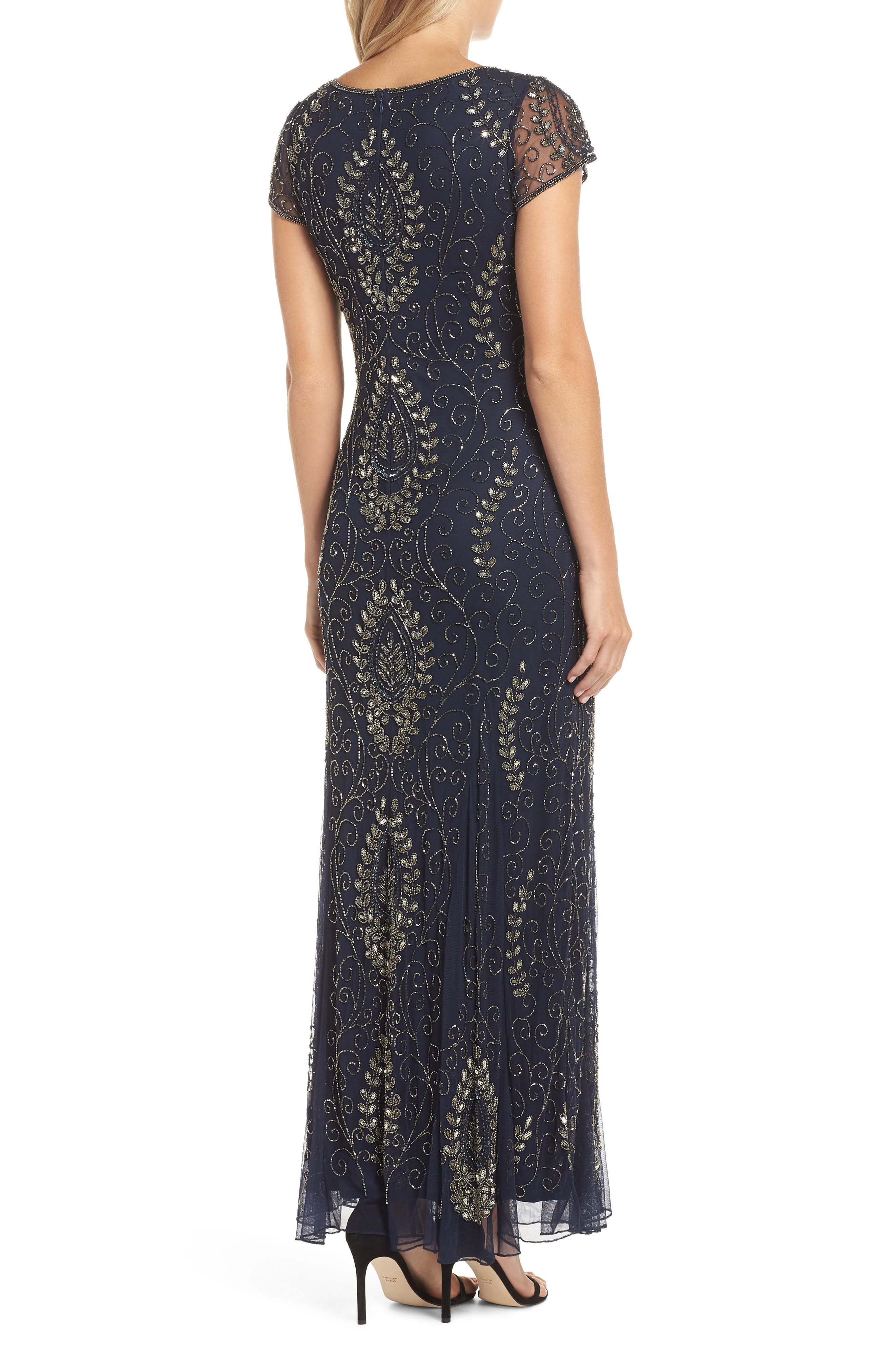 Embellished Mesh Gown,                             Alternate thumbnail 2, color,                             410