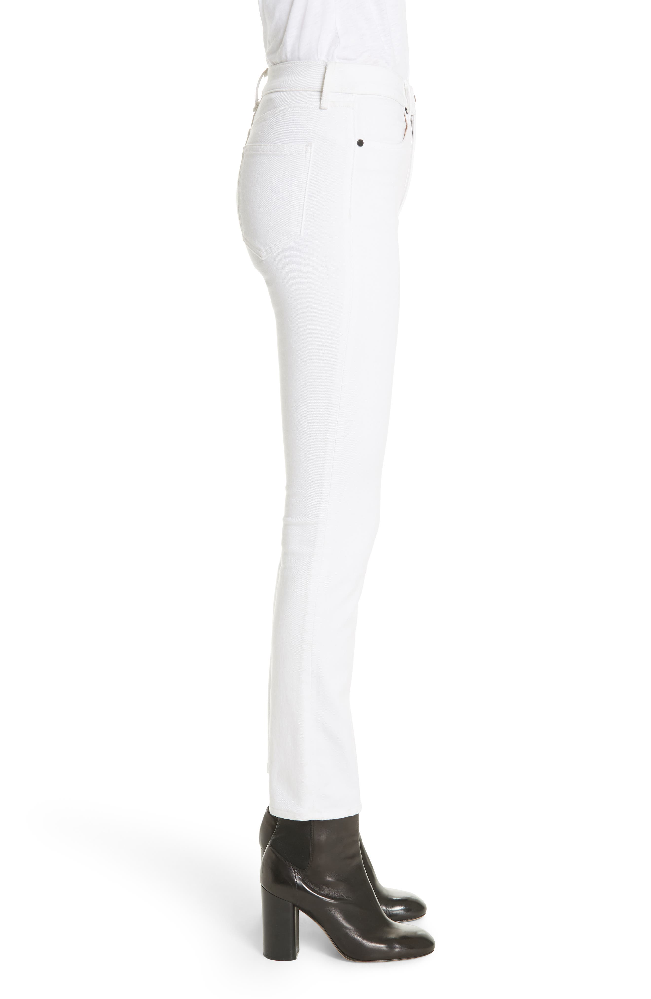 High Waist Ankle Skinny Jeans,                             Alternate thumbnail 3, color,                             100