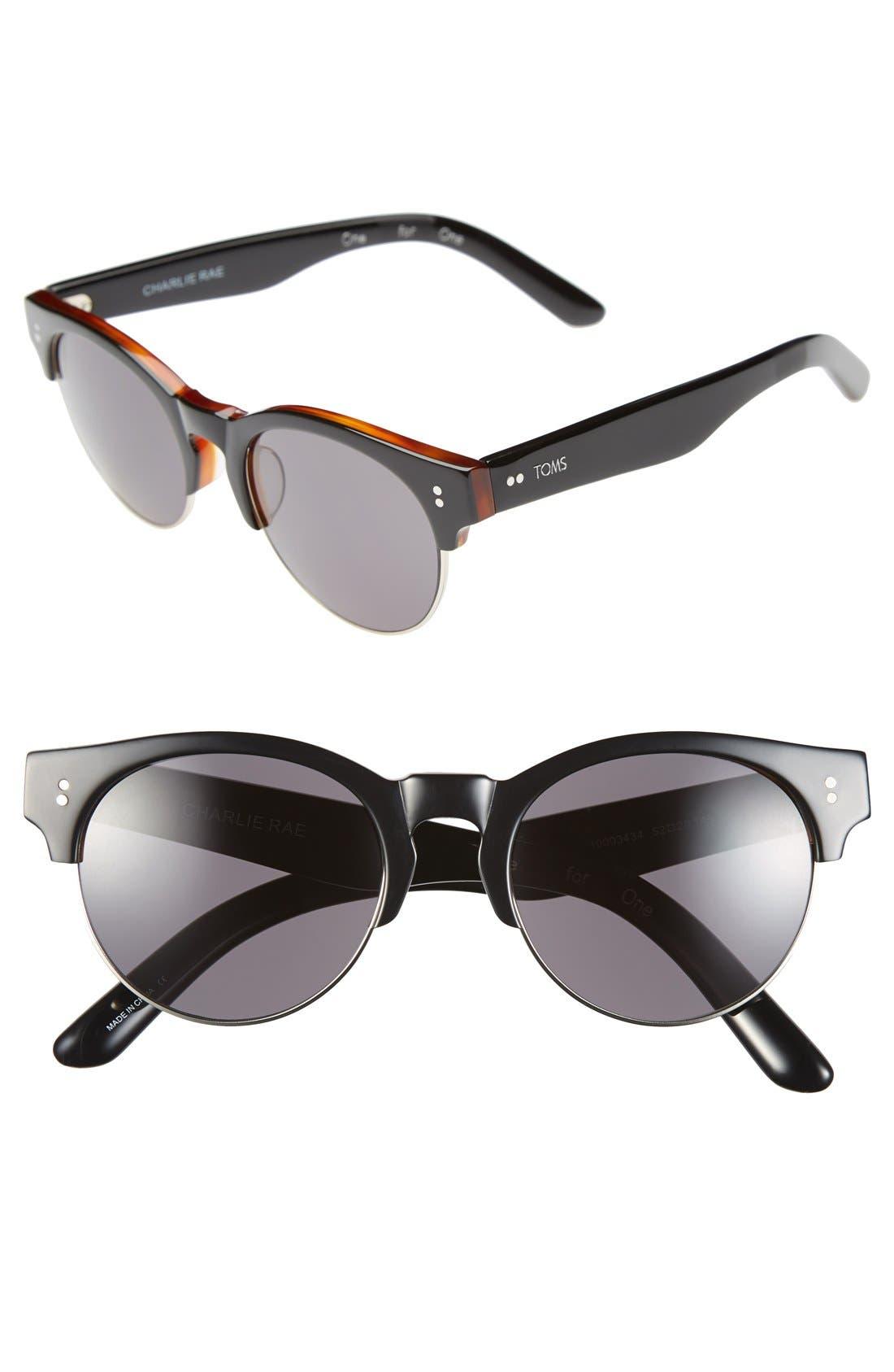 'Charlie Rae' 52mm Sunglasses,                         Main,                         color, 001