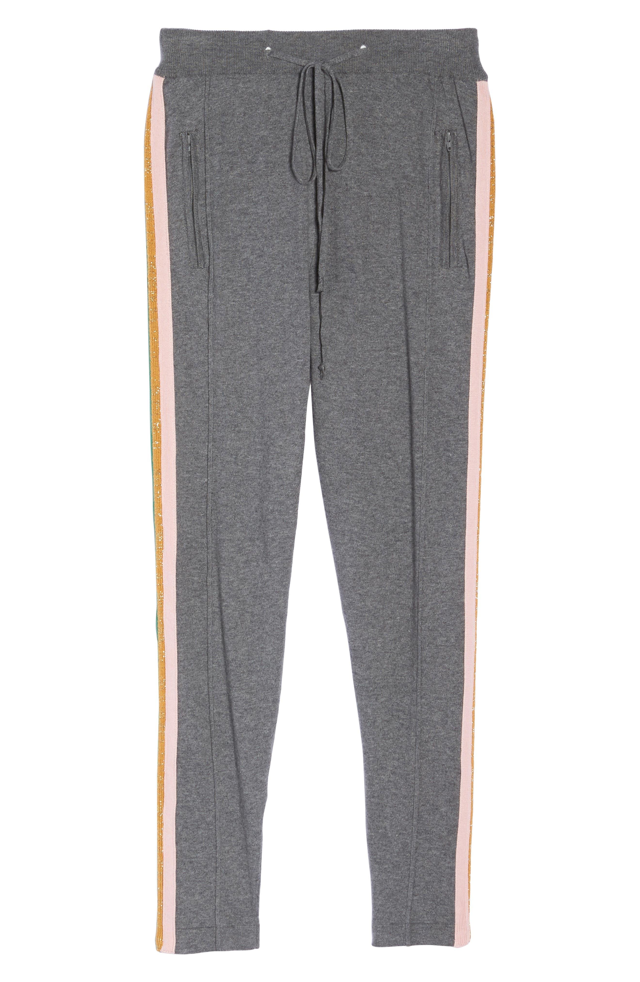 Rainbow Stripe Crop Sweatpants,                             Alternate thumbnail 6, color,