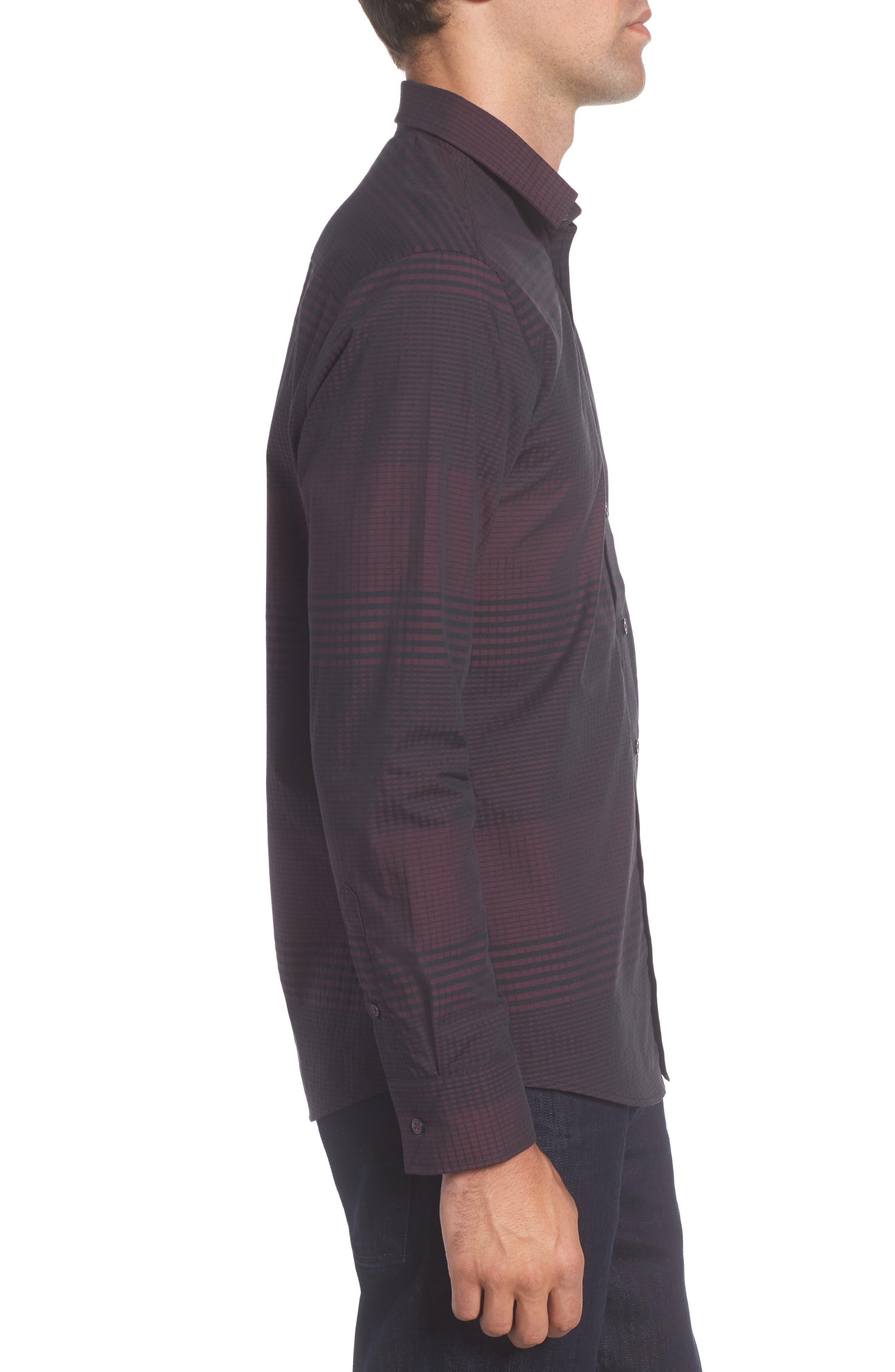 Slim Fit Check Plaid Sport Shirt,                             Alternate thumbnail 3, color,                             BURGUNDY/ BLACK CHECK PLAID