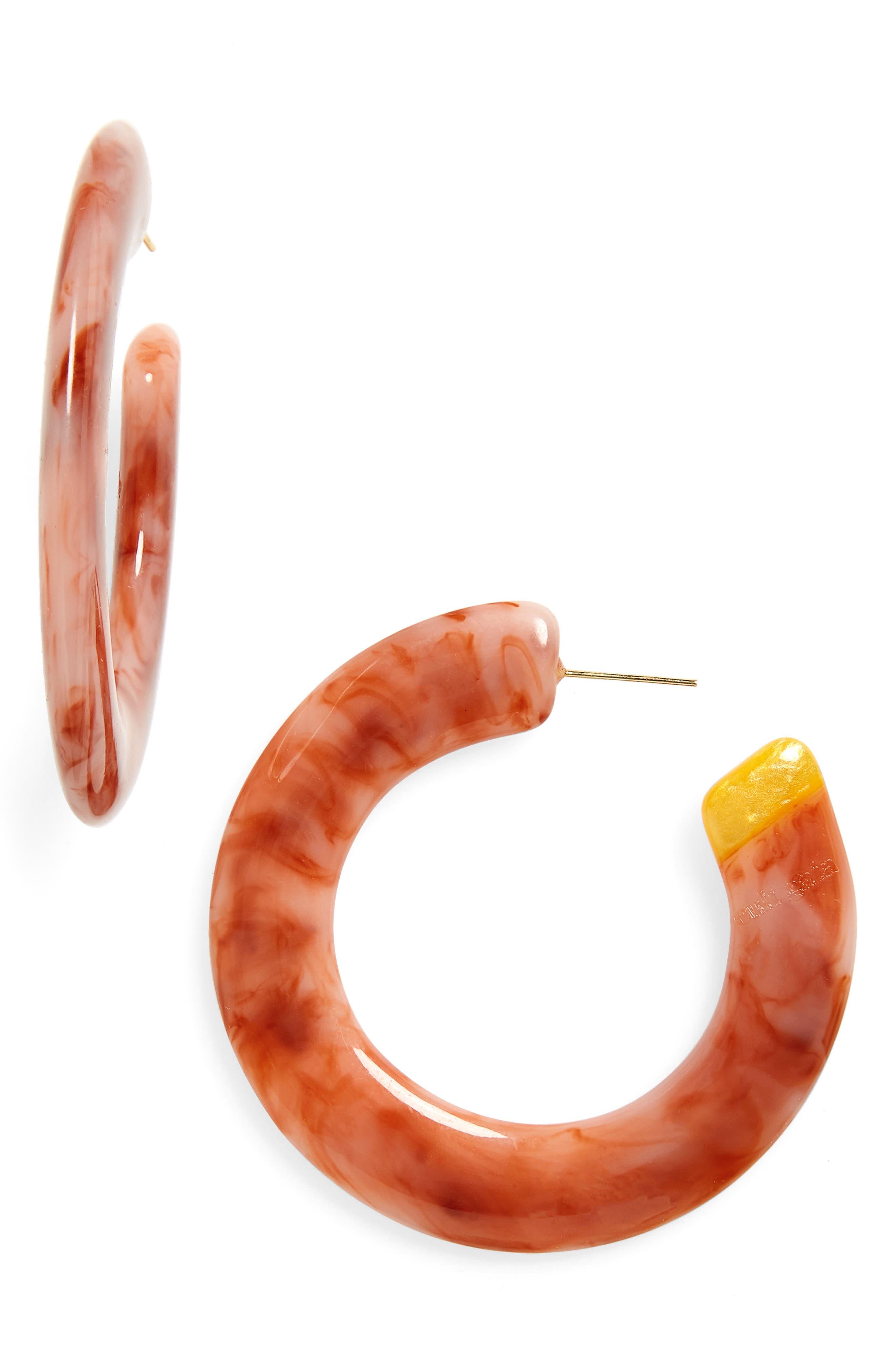 Mira Small Flat Hoop Earrings,                             Main thumbnail 1, color,                             RUBY