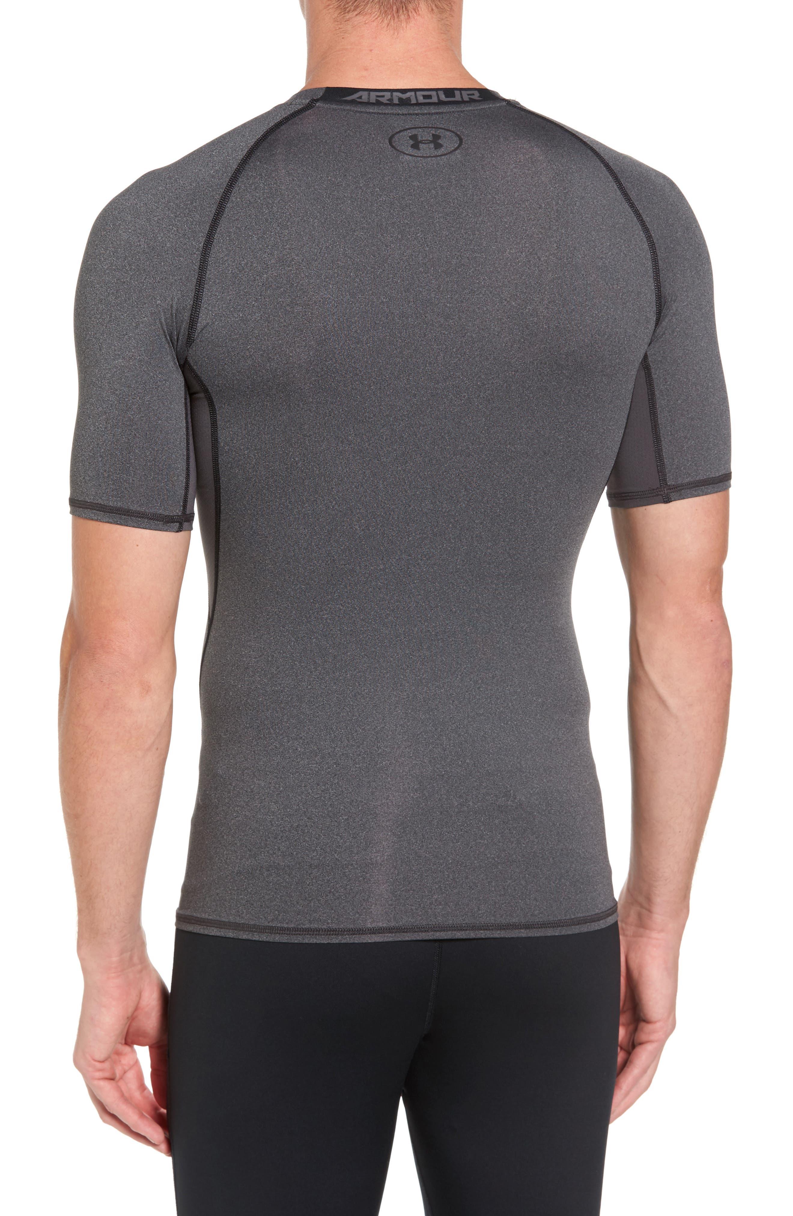 HeatGear<sup>®</sup> Compression Fit T-Shirt,                             Alternate thumbnail 3, color,                             CARBON HEATHER/ BLACK