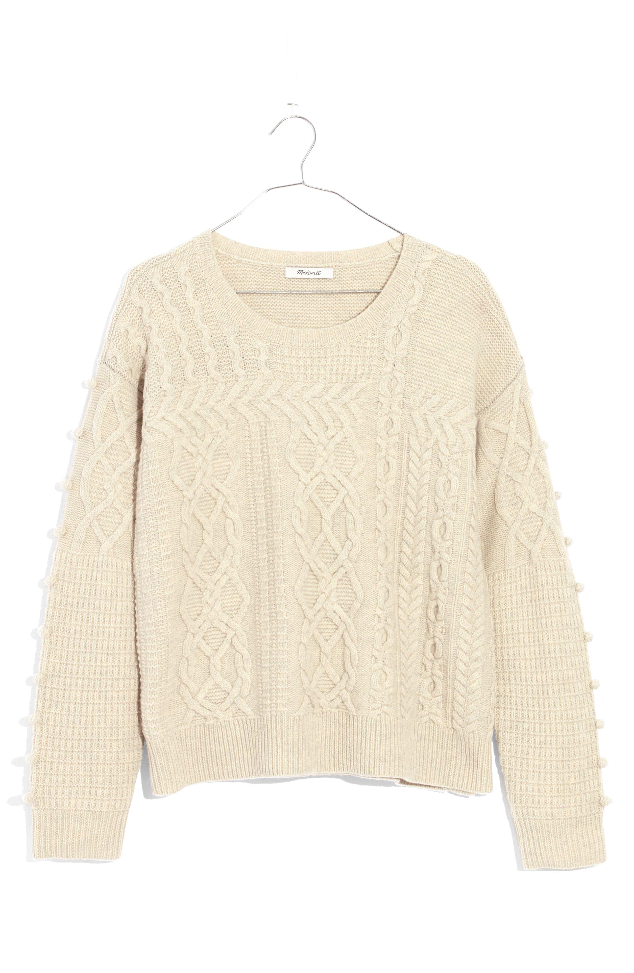 Open Side Bobble Pullover Sweater,                             Alternate thumbnail 4, color,                             020