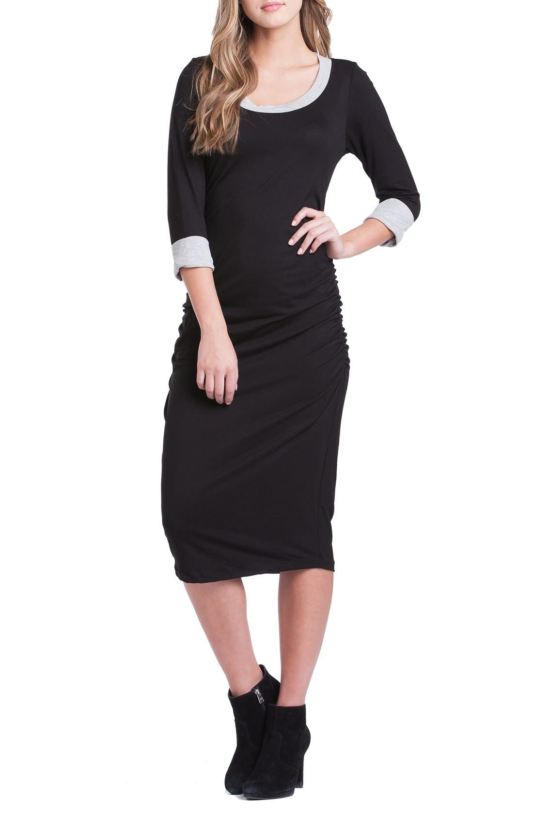 Body-Con Maternity Dress,                             Alternate thumbnail 5, color,                             001