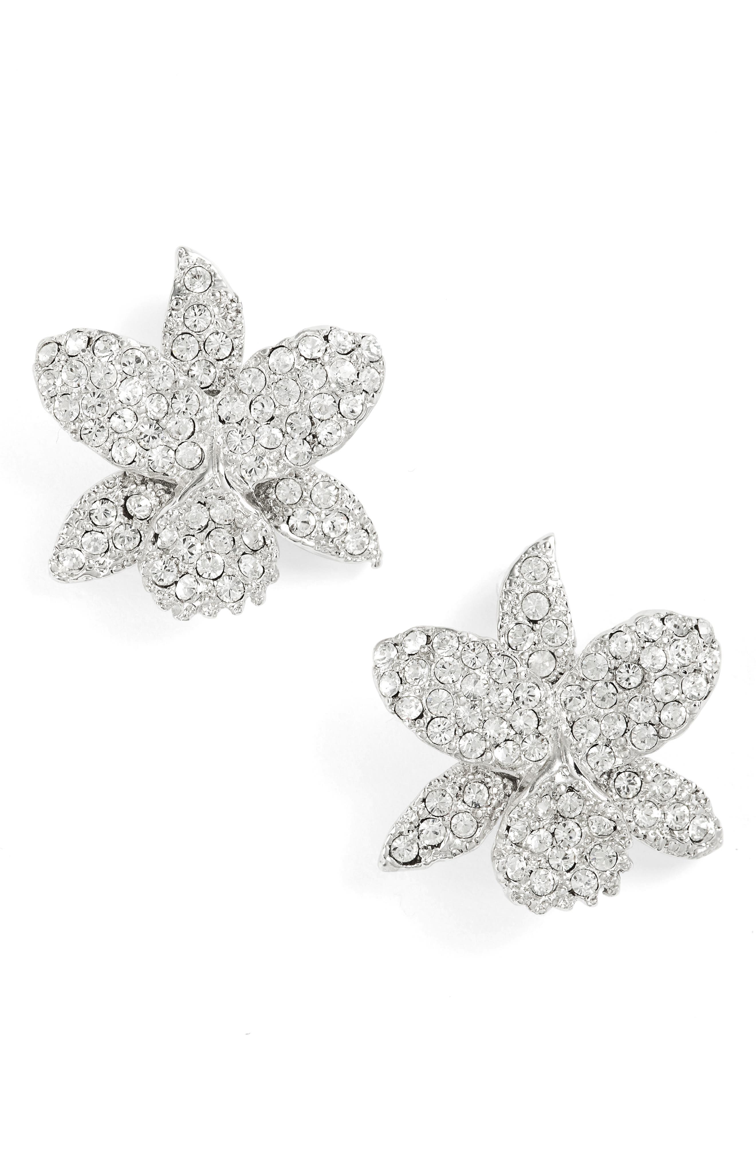 Small Orchid Swarovski Crystal Stud Earrings,                             Main thumbnail 1, color,                             SILVER