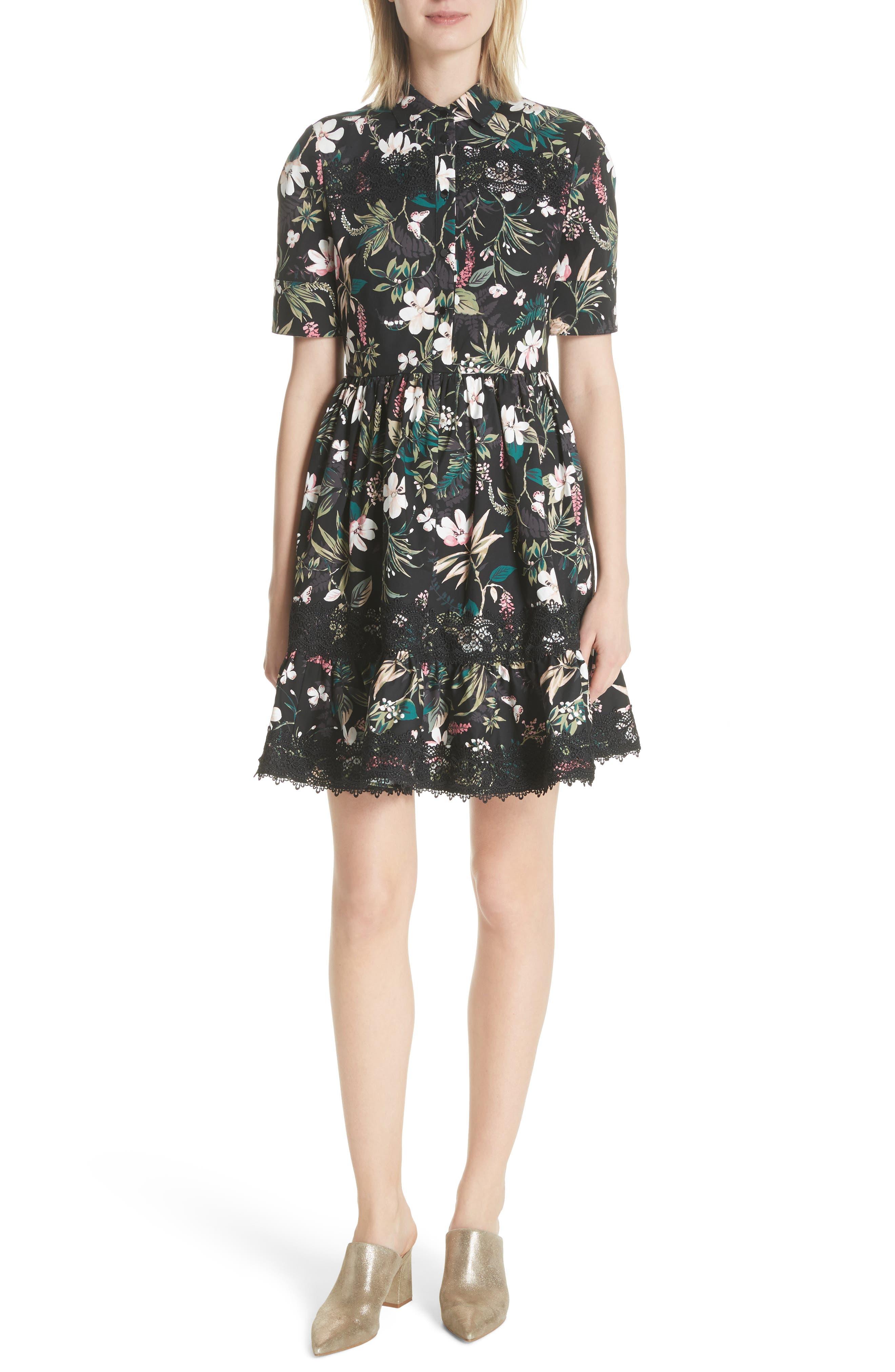botanical poplin shirtdress,                         Main,                         color, 001