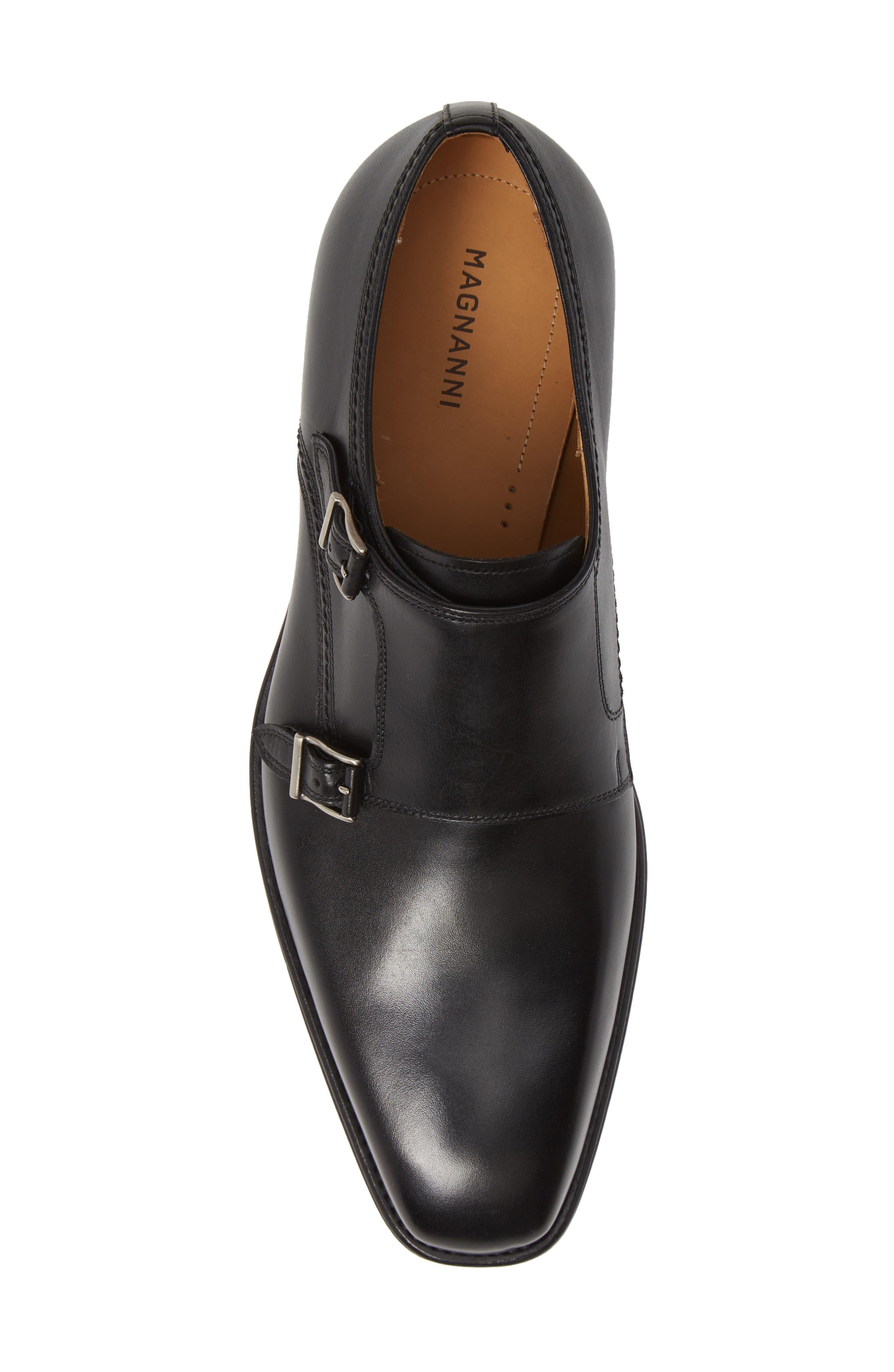 Landon Double Strap Monk Shoe,                             Alternate thumbnail 5, color,                             BLACK LEATHER