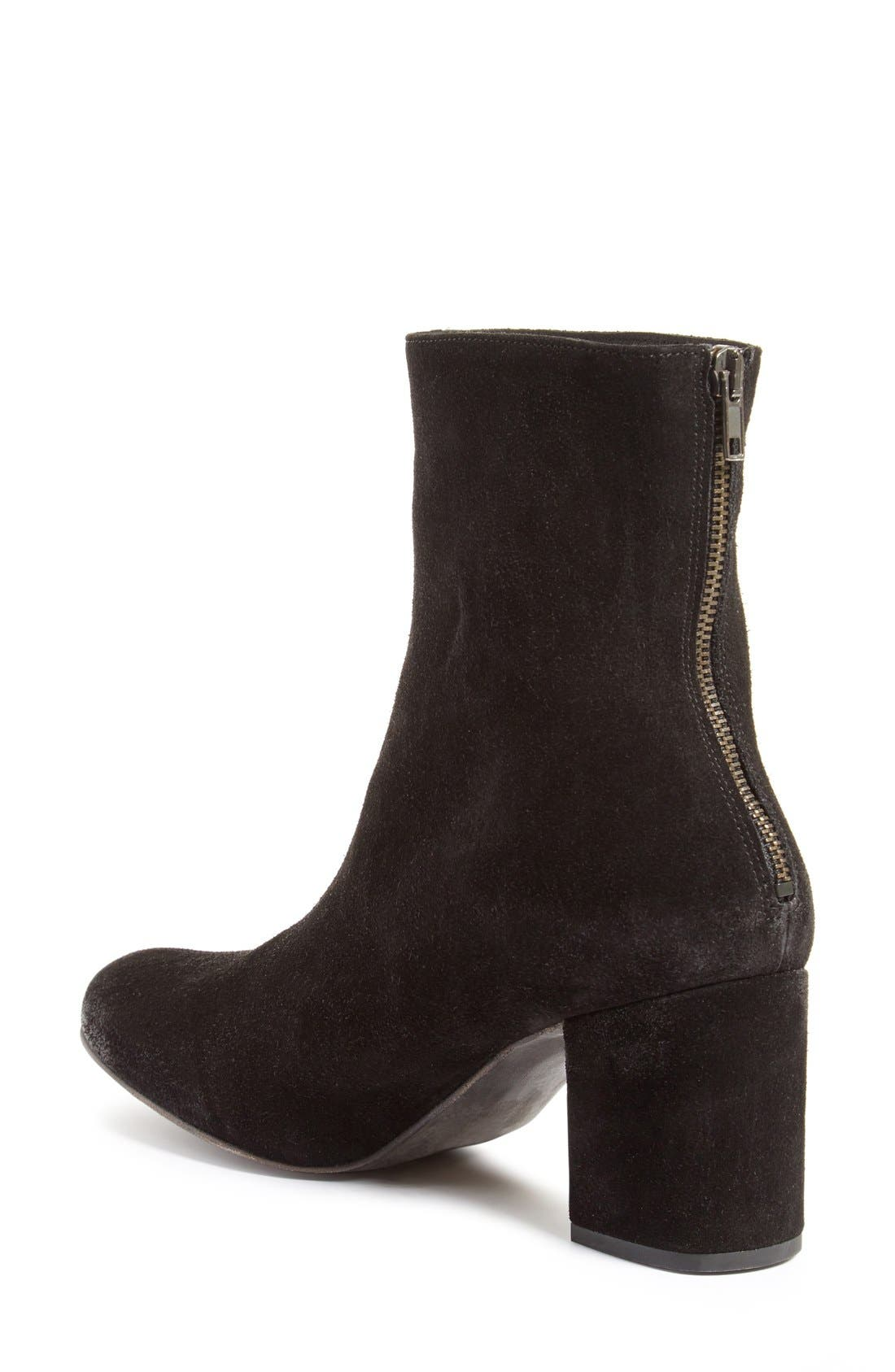 Cecile Block Heel Bootie,                             Alternate thumbnail 6, color,                             BLACK SUEDE