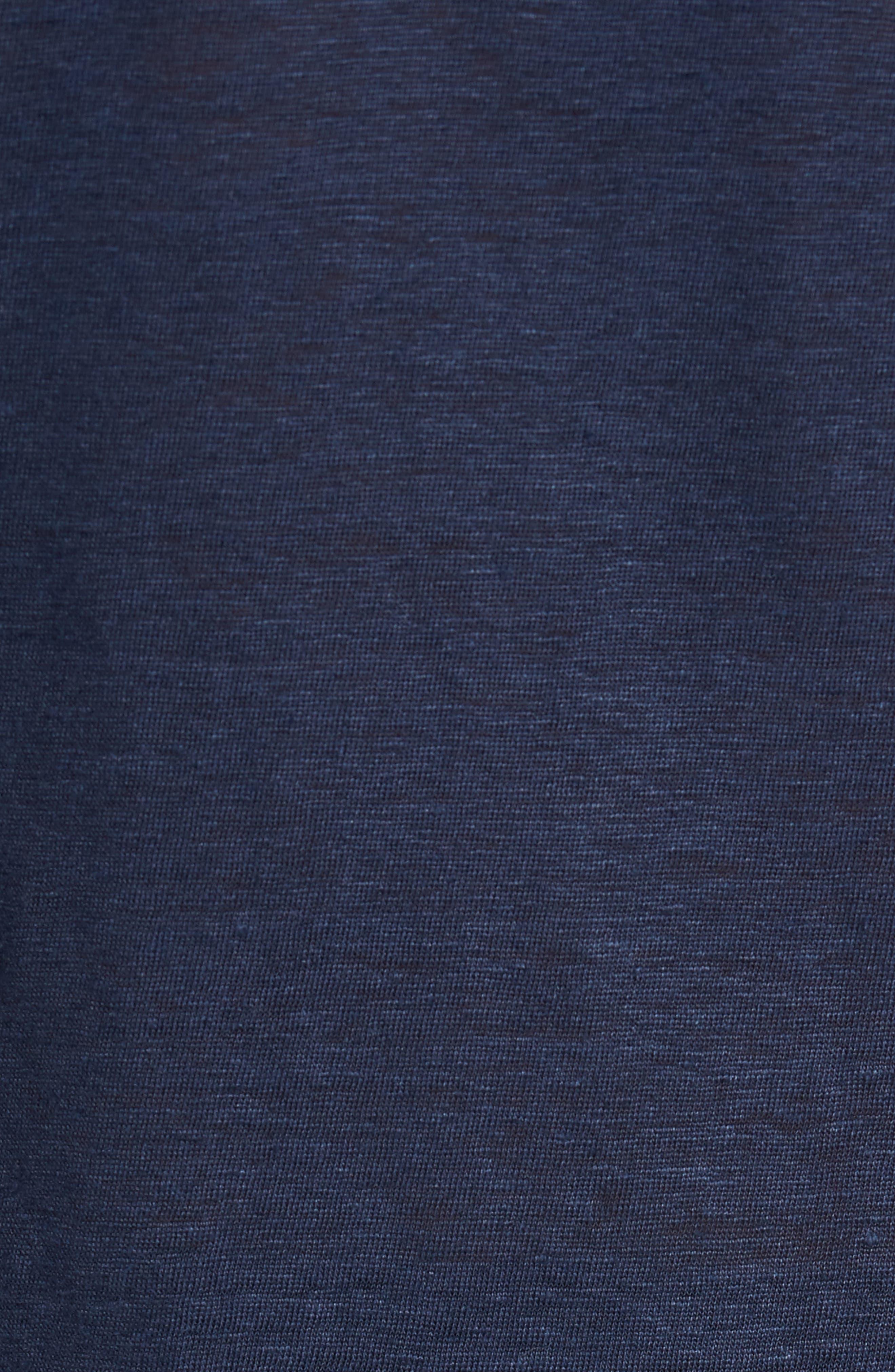 Linen Slub Jersey Linen Polo,                             Alternate thumbnail 5, color,                             NAVY
