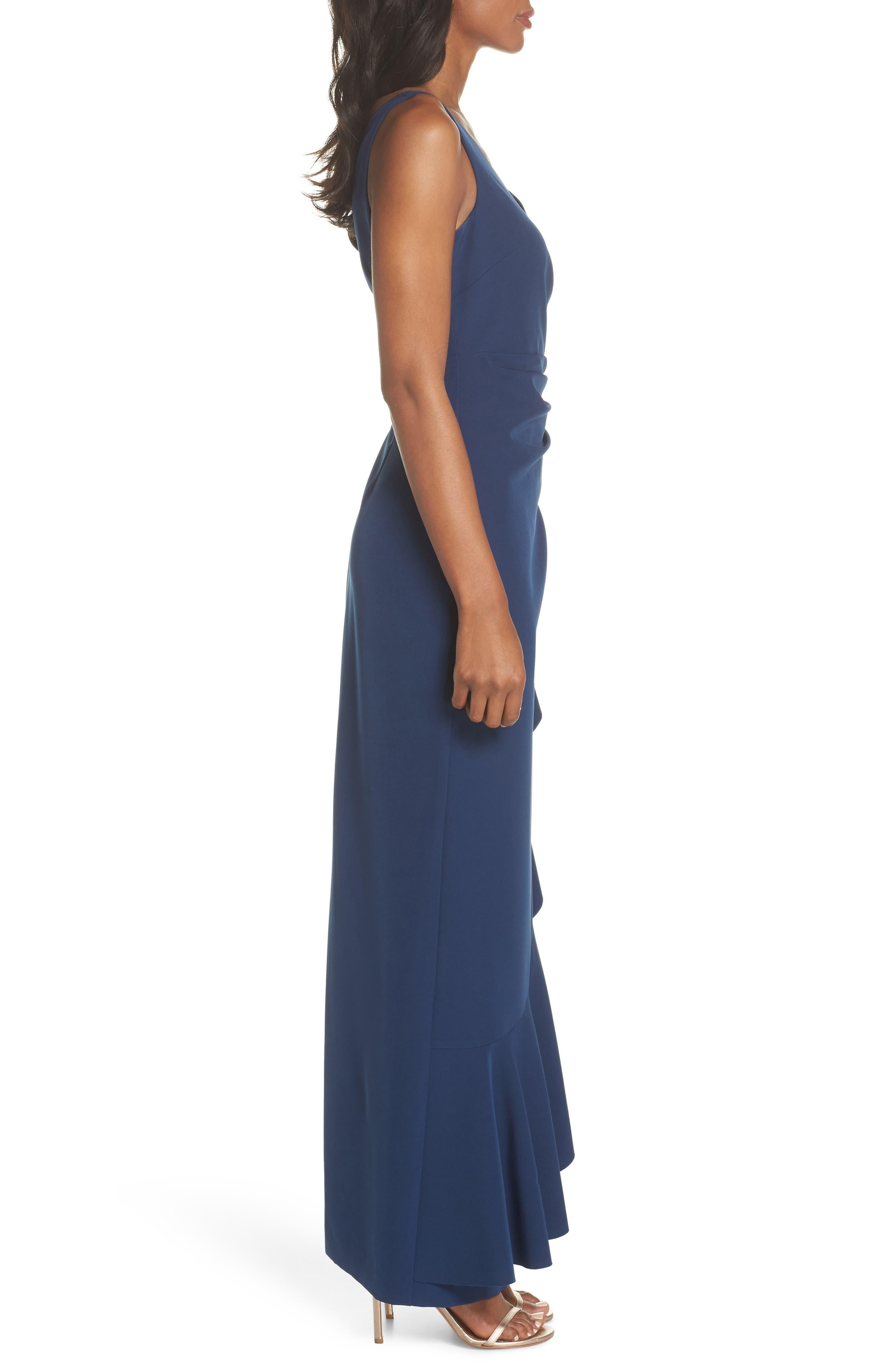 Laguna Faux Wrap Gown,                             Alternate thumbnail 3, color,                             BLUE