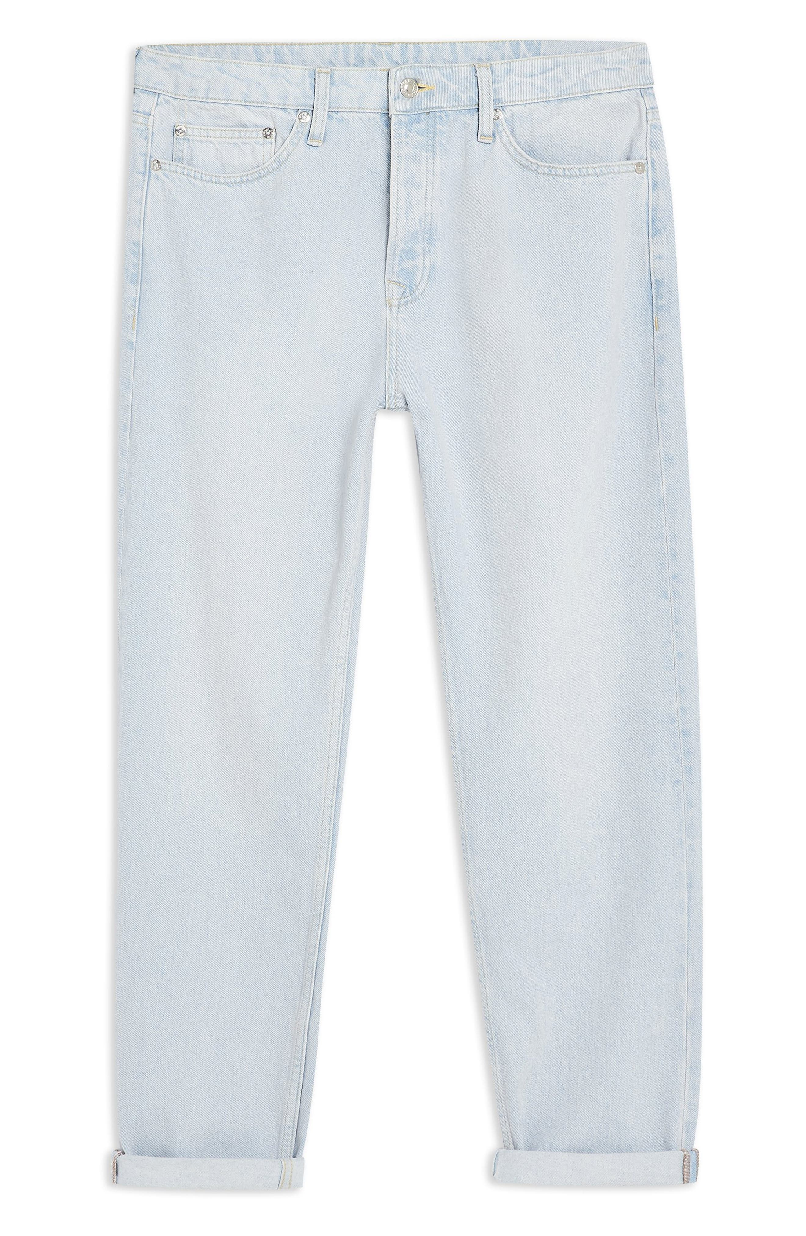 TOPMAN,                             Tapered Fit Jeans,                             Alternate thumbnail 4, color,                             BLUE