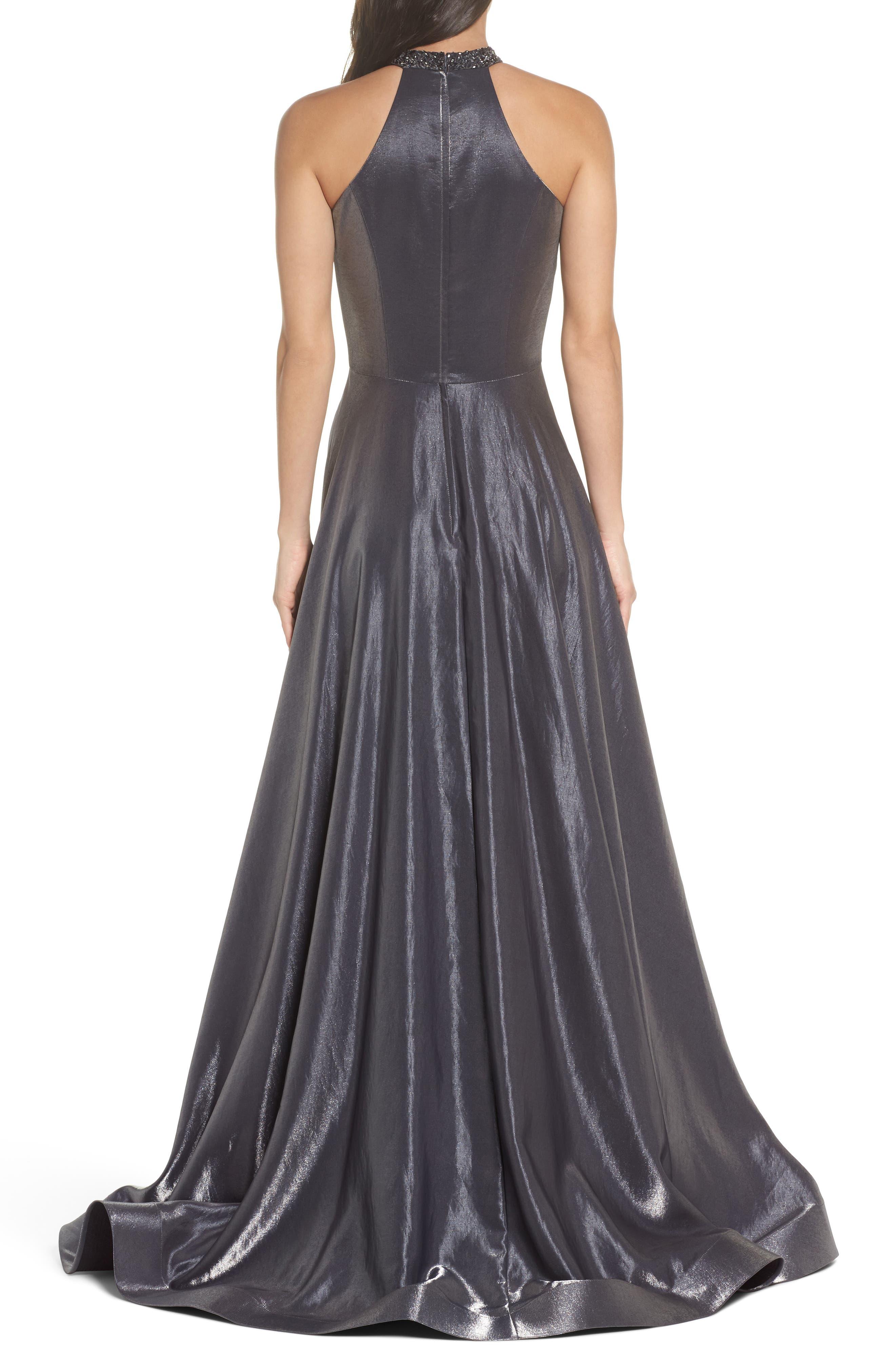 Beaded Halter Neck A-Line Gown,                             Alternate thumbnail 2, color,                             PLATINUM