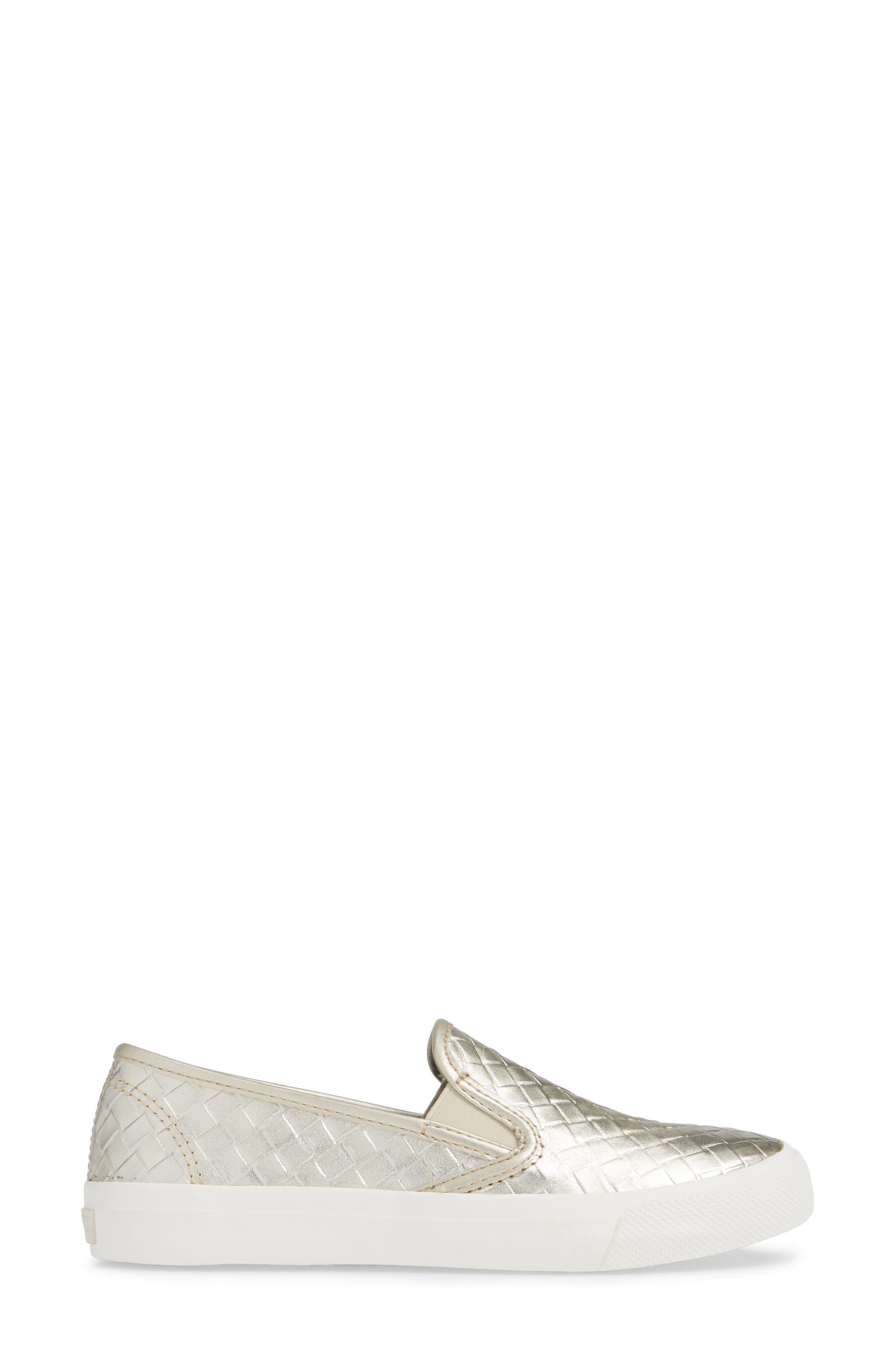 Seaside Embossed Weave Slip-On Sneaker,                             Alternate thumbnail 3, color,                             PLATINUM LEATHER