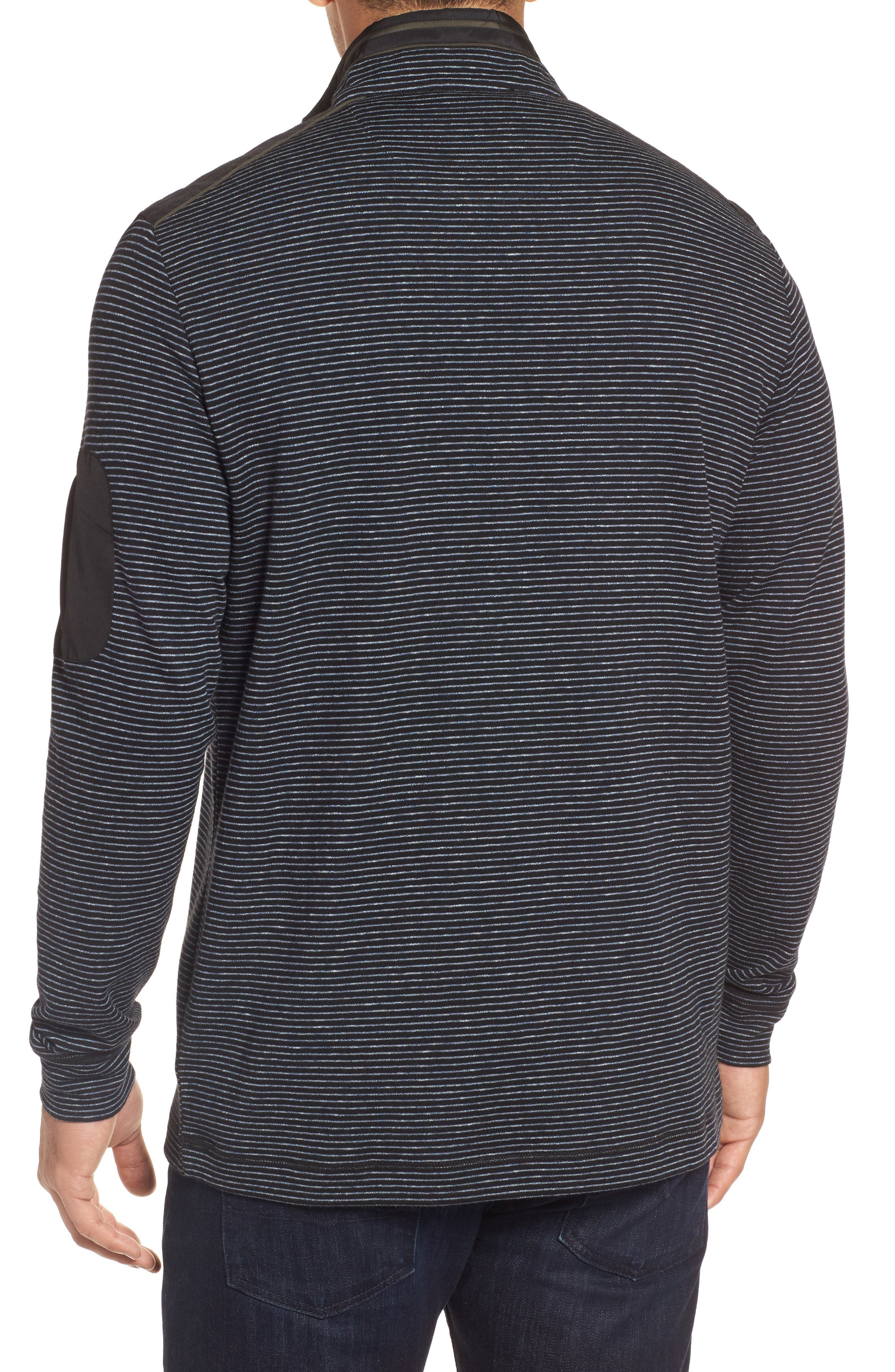 Classic Fit Pinstripe Quarter Zip Pullover,                             Alternate thumbnail 2, color,                             001