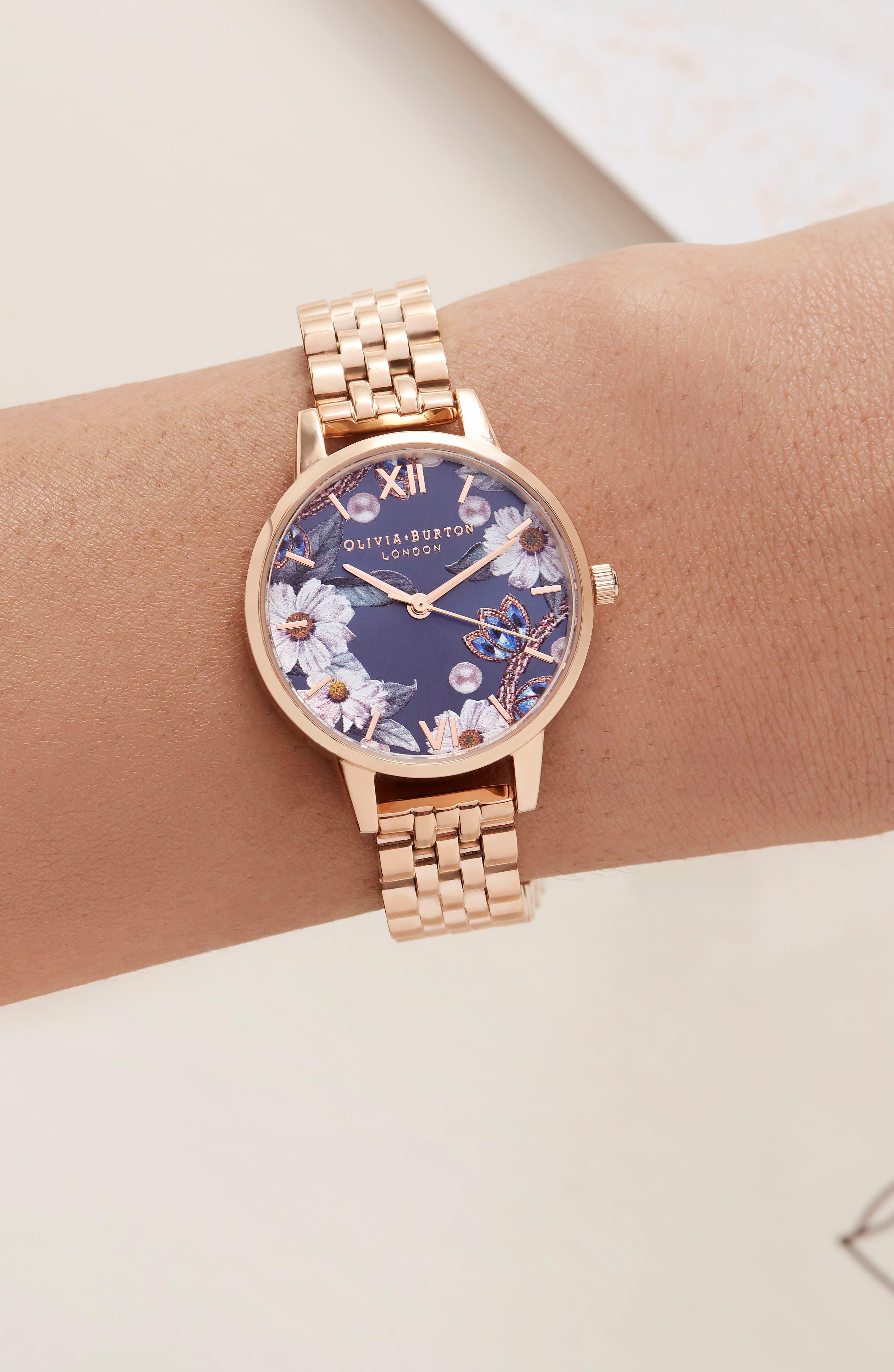 Bejewelled Floral Bracelet Watch, 30mm,                             Alternate thumbnail 6, color,                             ROSE GOLD
