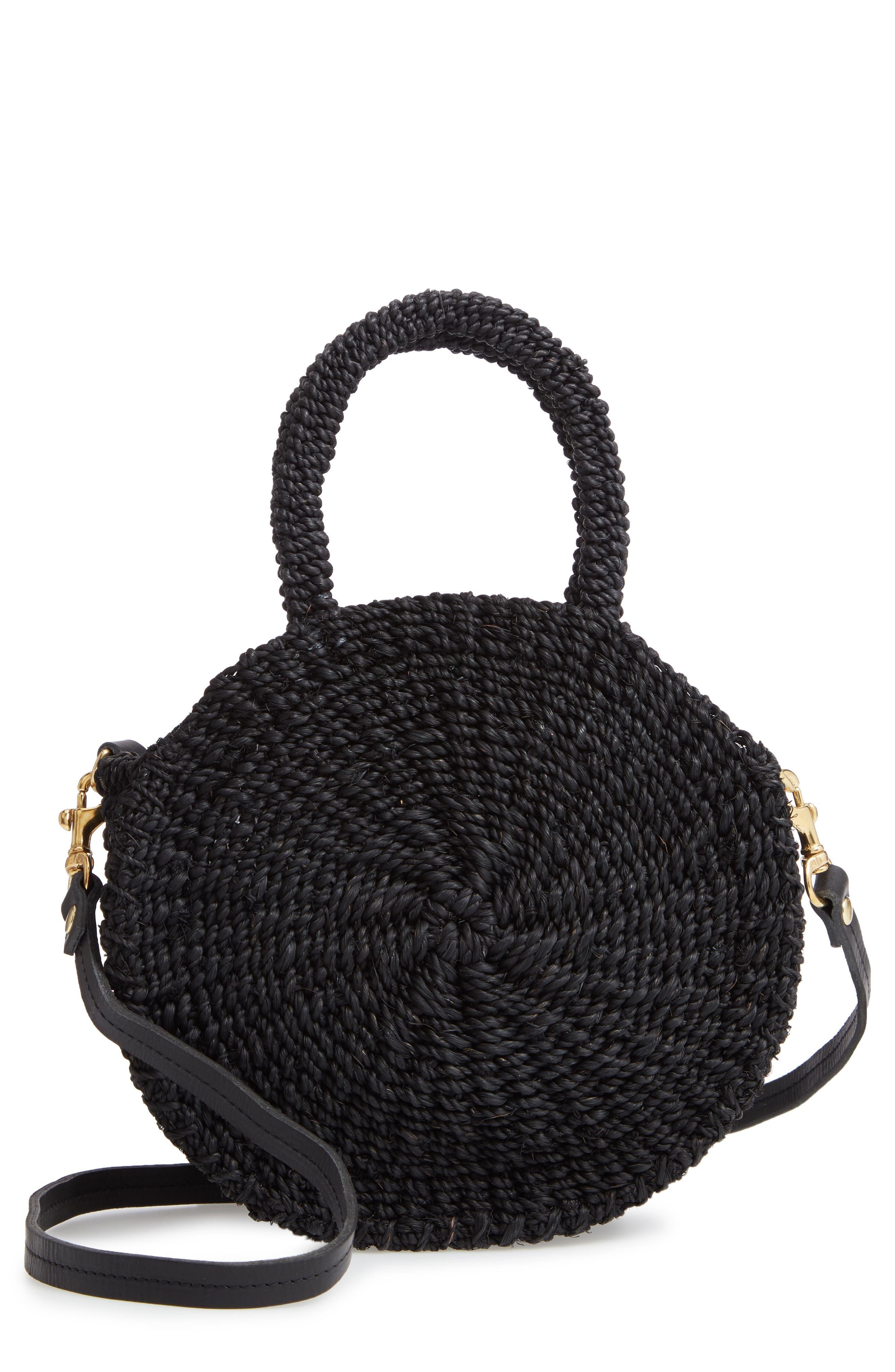 Petite Alice Straw Bag,                         Main,                         color, BLACK