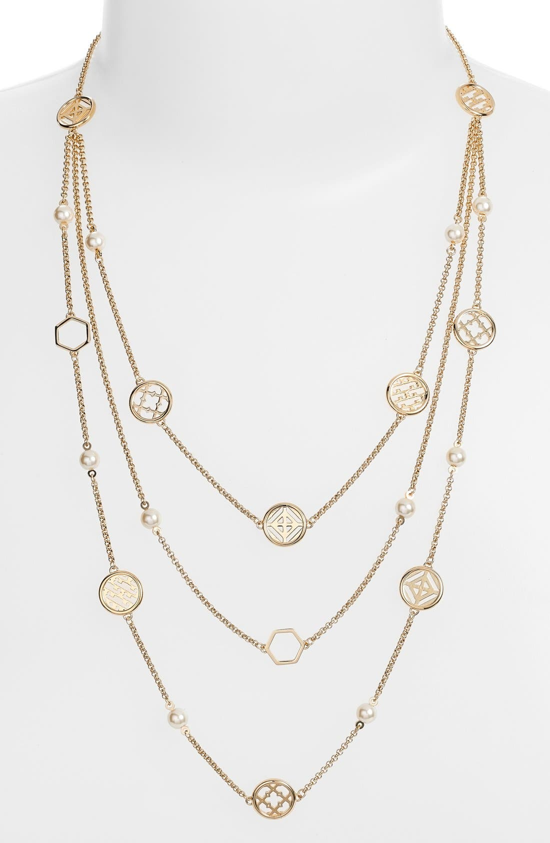 Faux Pearl Station Necklace,                         Main,                         color,