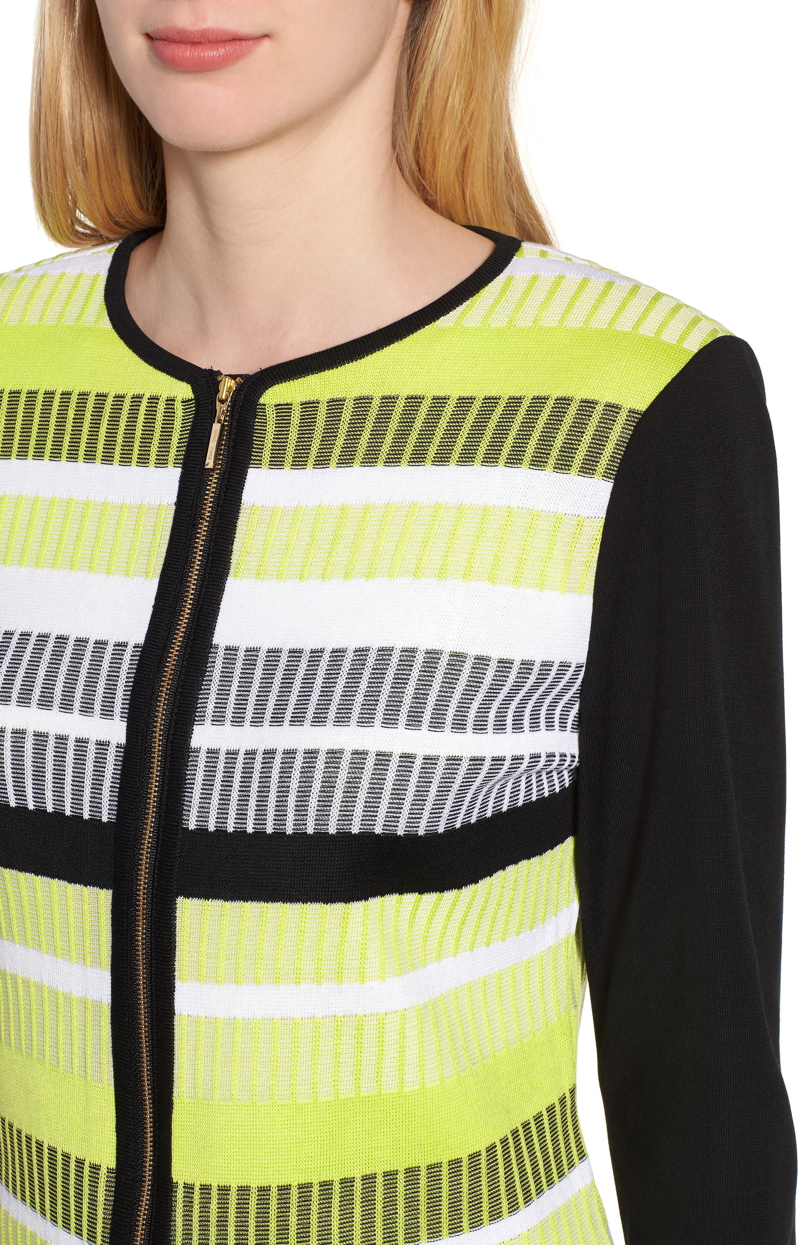 Long Sleeve Stripe Jacket,                             Alternate thumbnail 4, color,                             BLACK/ PEAR/ WHITE