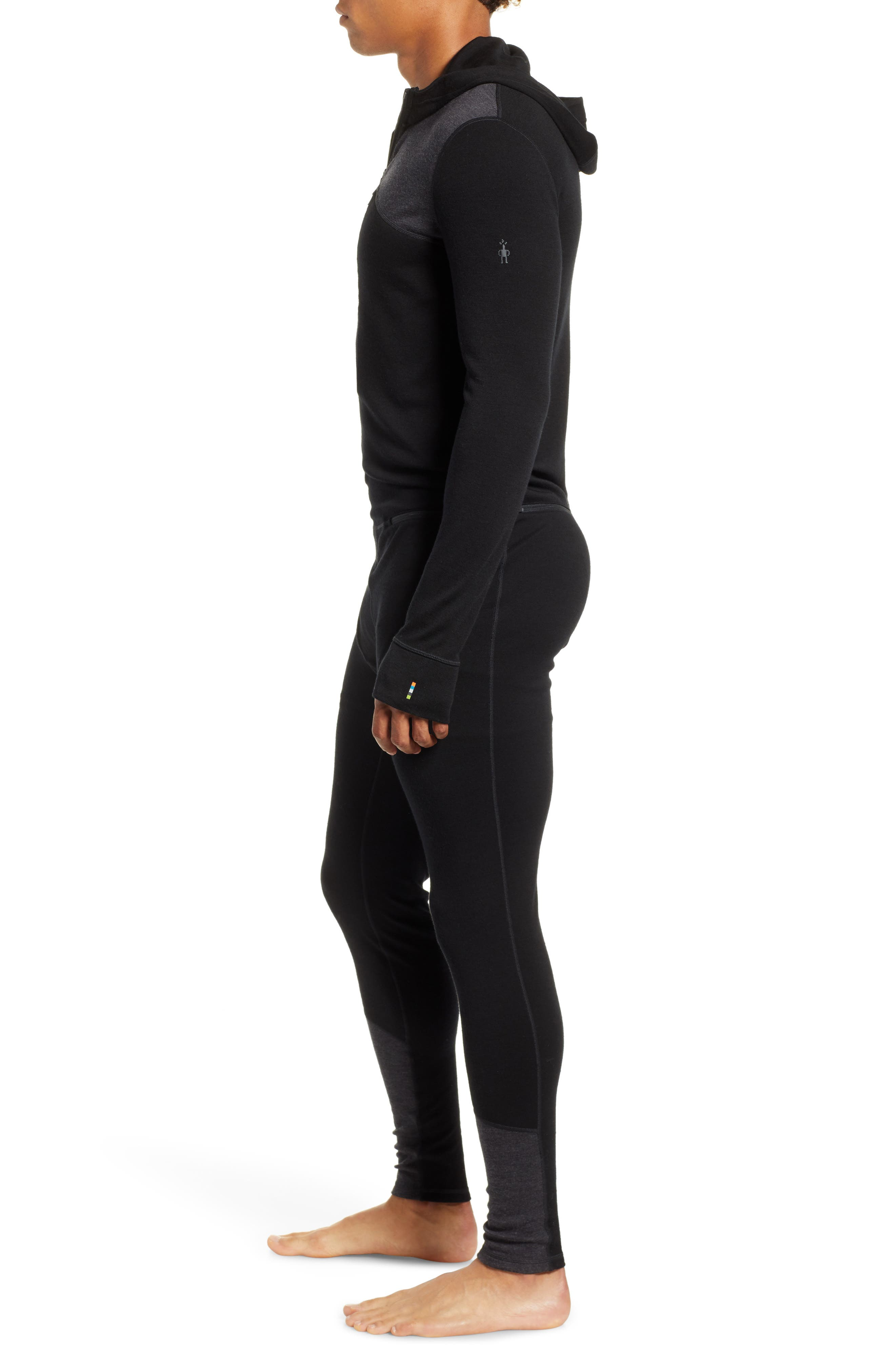 SMARTWOOL,                             Merino 250 Hooded One-Piece Base Layer,                             Alternate thumbnail 3, color,                             CHARCOAL/ BLACK